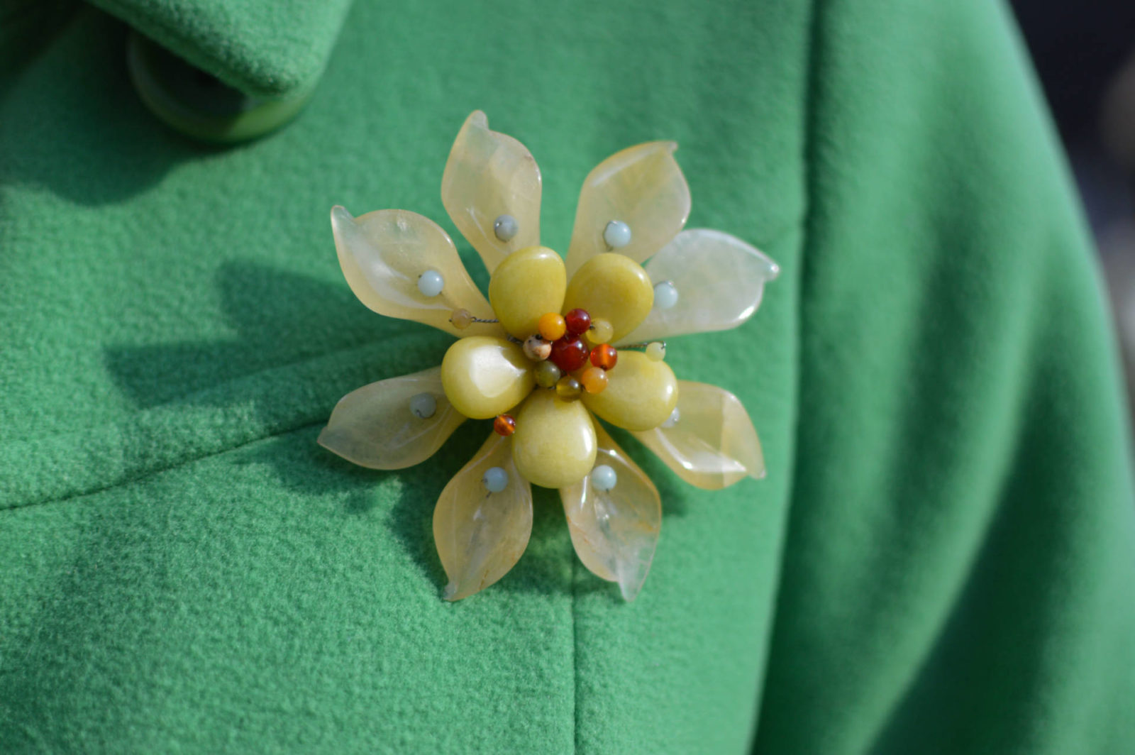 Style Not Age Spring Greens, Laura Ashley green coat, Pia flower brooch