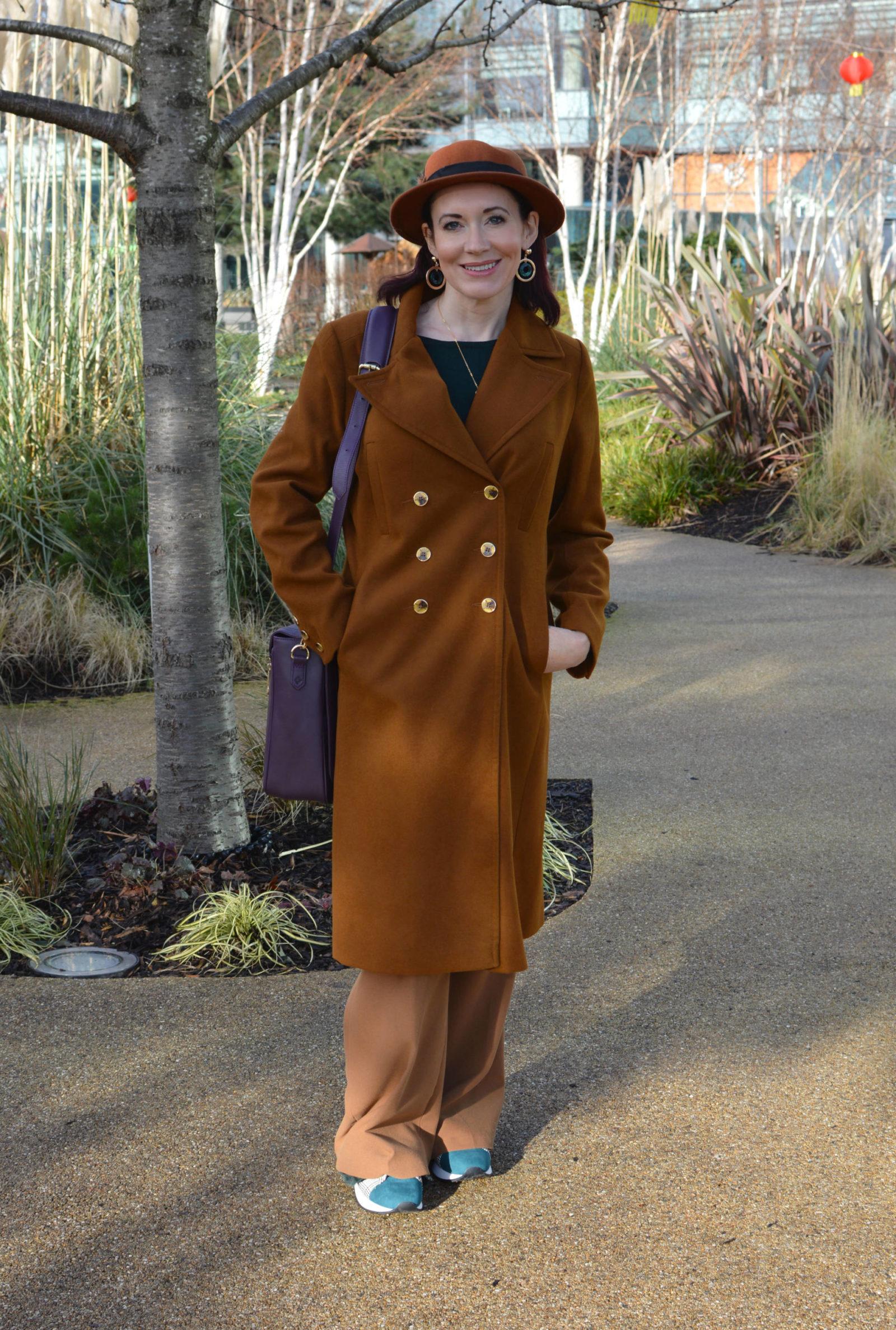 Warm browns with dark green and aubergine, Oasis brown coat, Jennifer Hamley Model KT aubergine bag