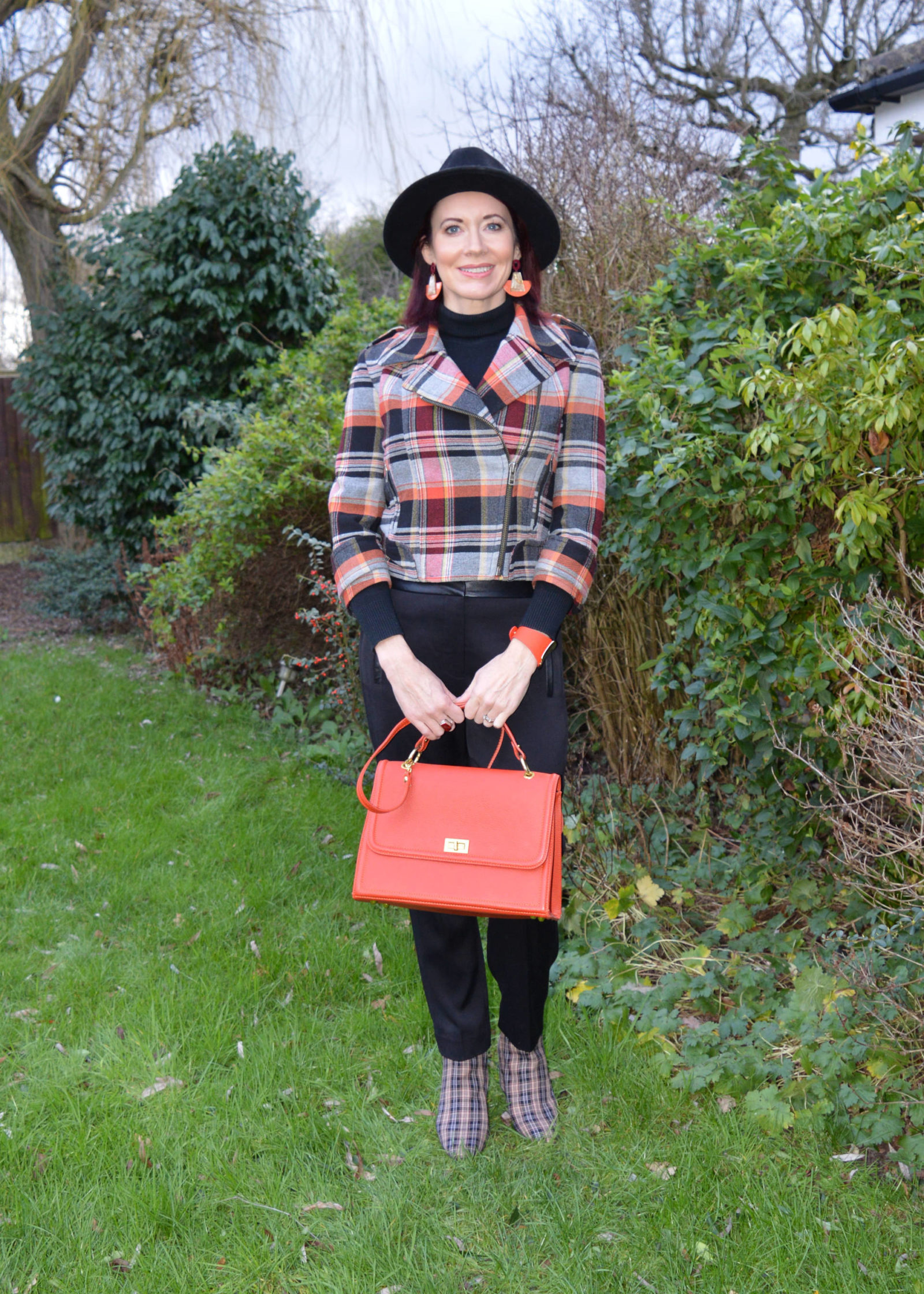 French Connection Tartan jacket and check ankle boots, Tibi black trousers