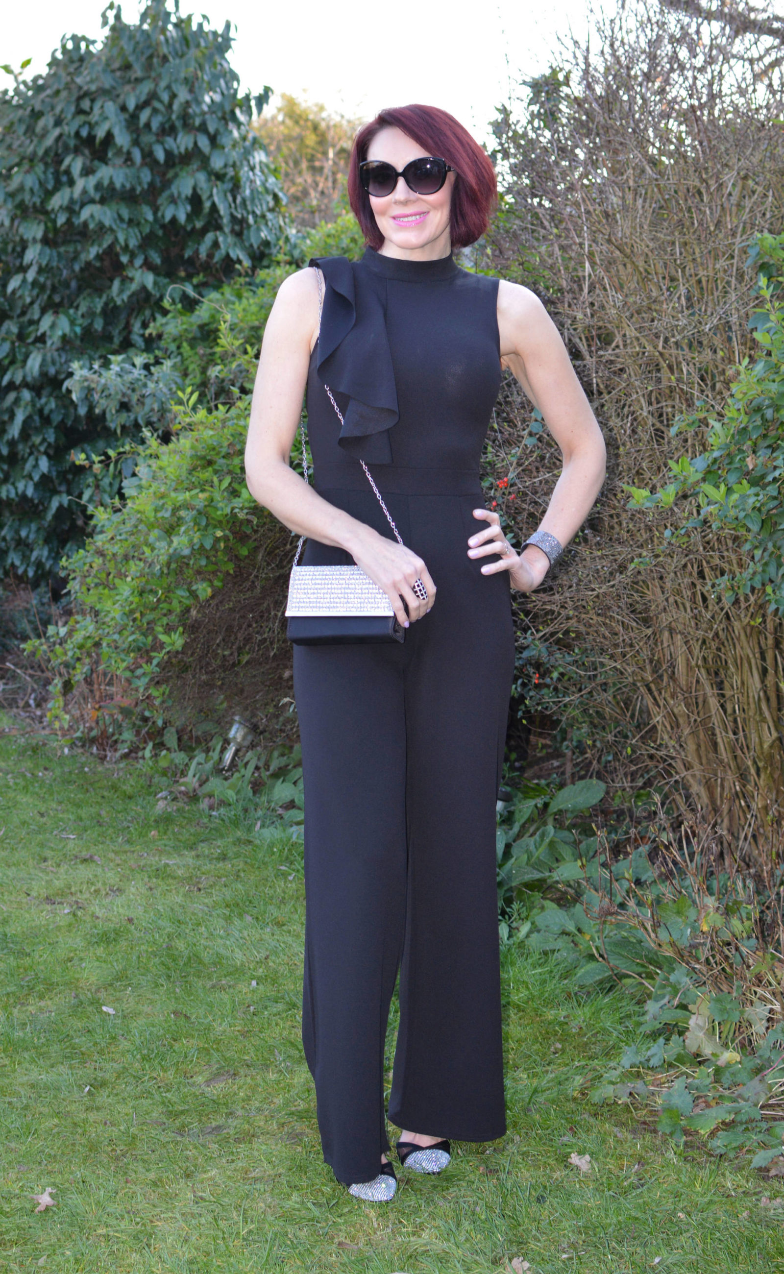 Styled by my husband: Quiz Palazzo Jumpsuit, Quiz black shimmer diamante bag