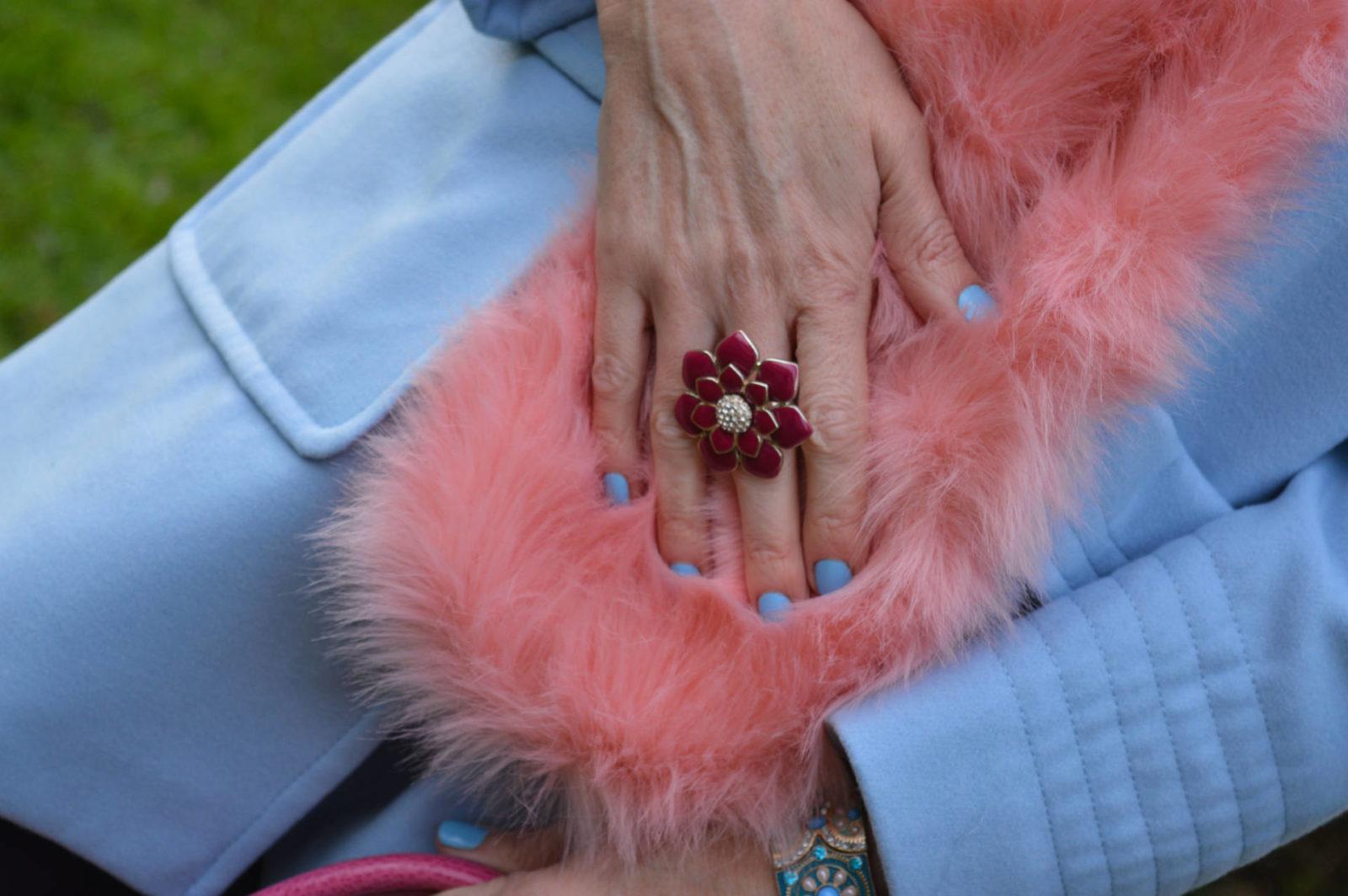 pink enamel flower ring, Skinny Dip pink faux fur scarf