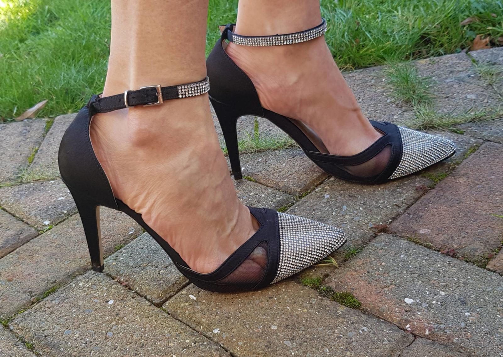 Quiz Black Satin Ankle Strap Court Shoes