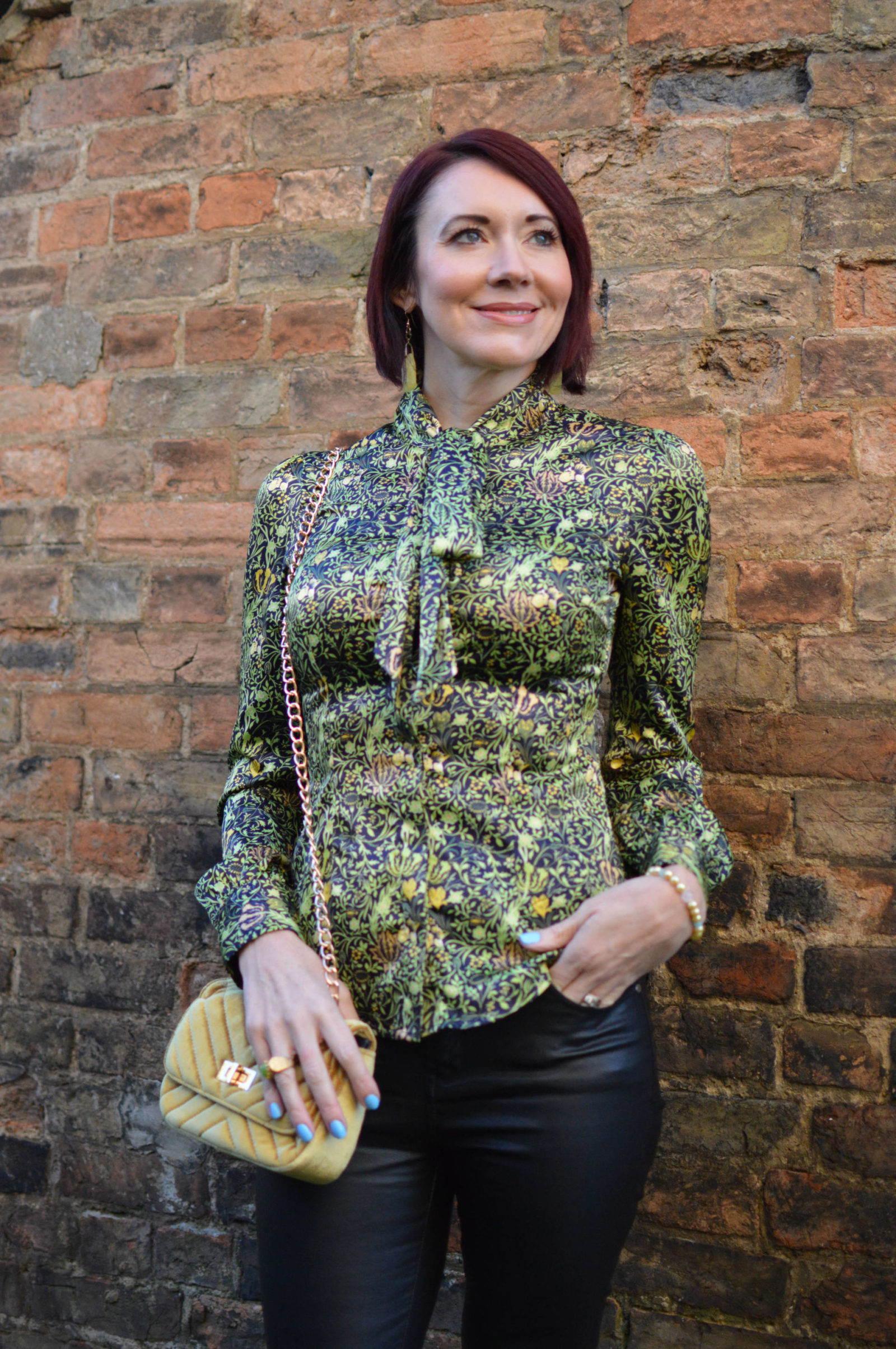 Style Not Age Spring Greens, Hawes & Curtis blouse, Frontrow coated skinny jeans, Hawes & Curtis blouse