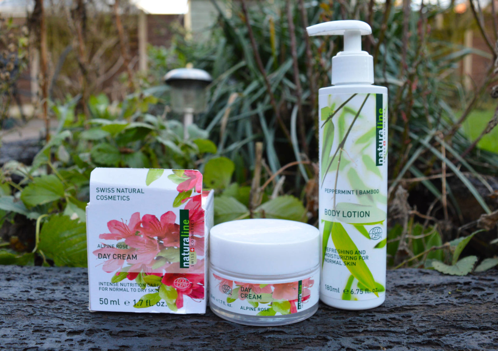 February Beauty Favourites , Naturaline Swiss Cosmetics Alpine Rose Day Cream Peppermint Bamboo Body Lotion