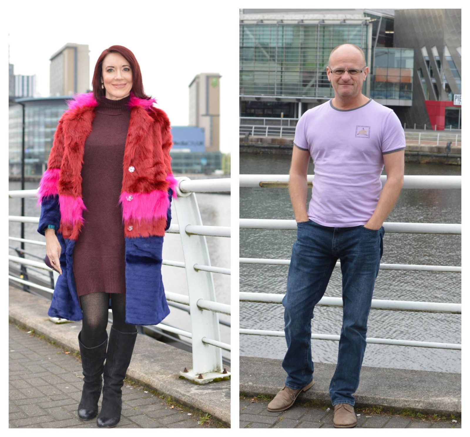 Valentine's lunch date outfits, Asos faux fur coat, V by Very straight leg men's jeans