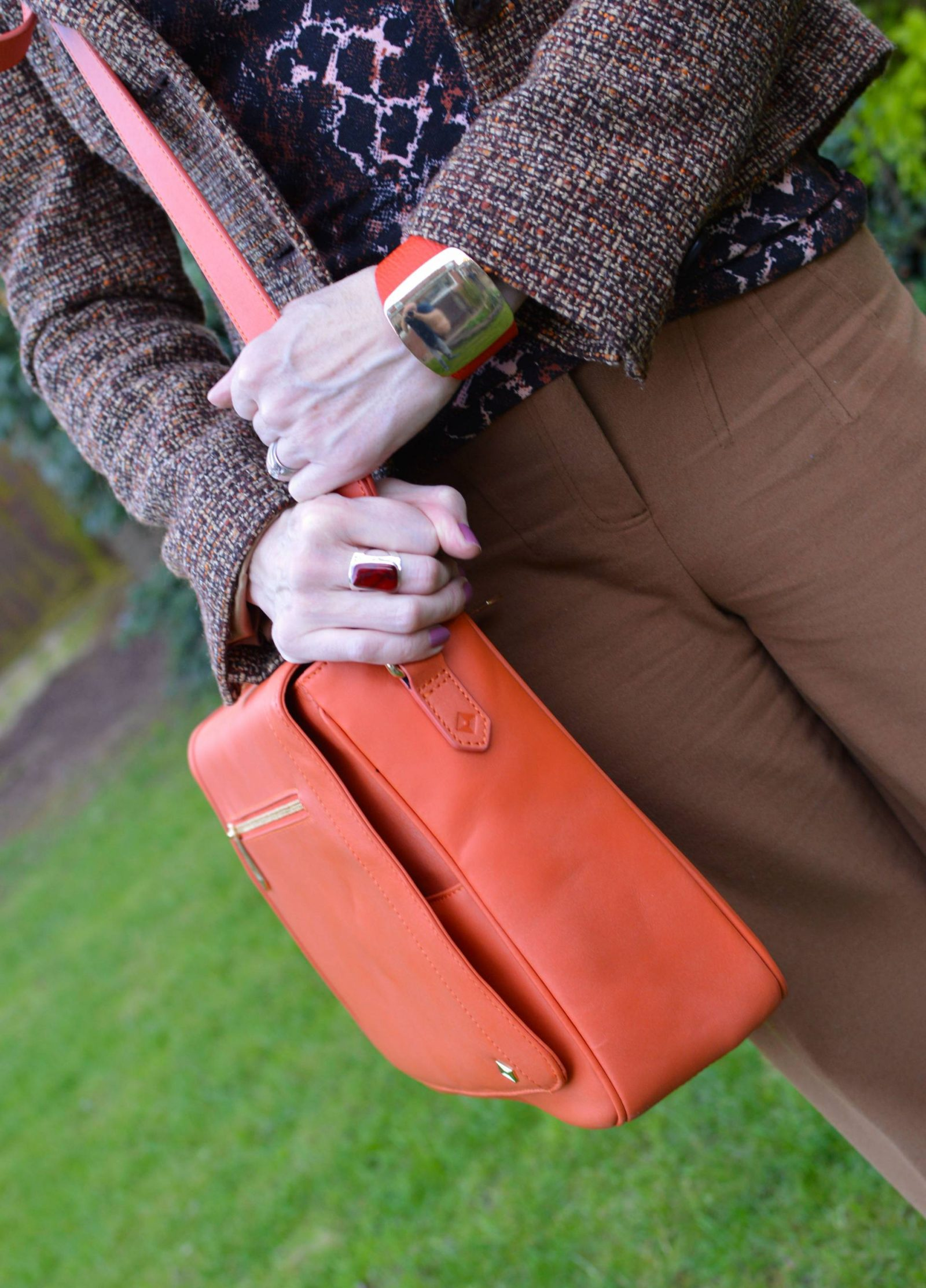 Snake Print and Tweed With Orange Accents, Red Herring snake print top, Jennifer Hamley Model KT bag