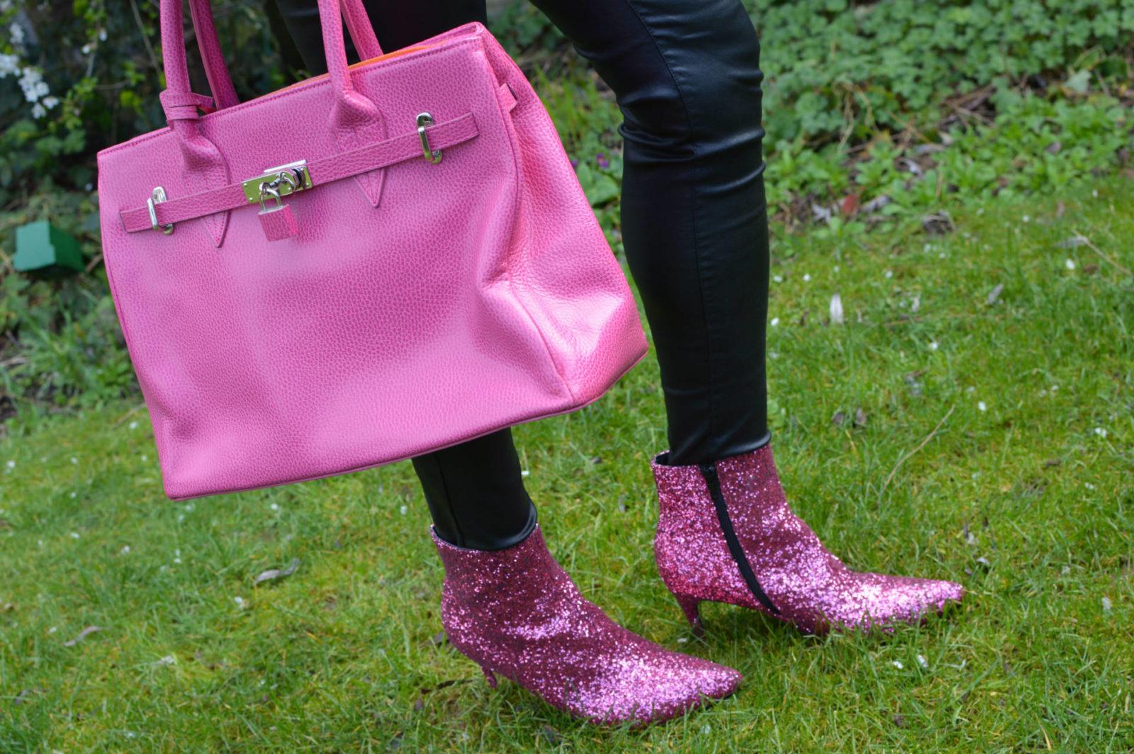 Truffle pink glitter boots