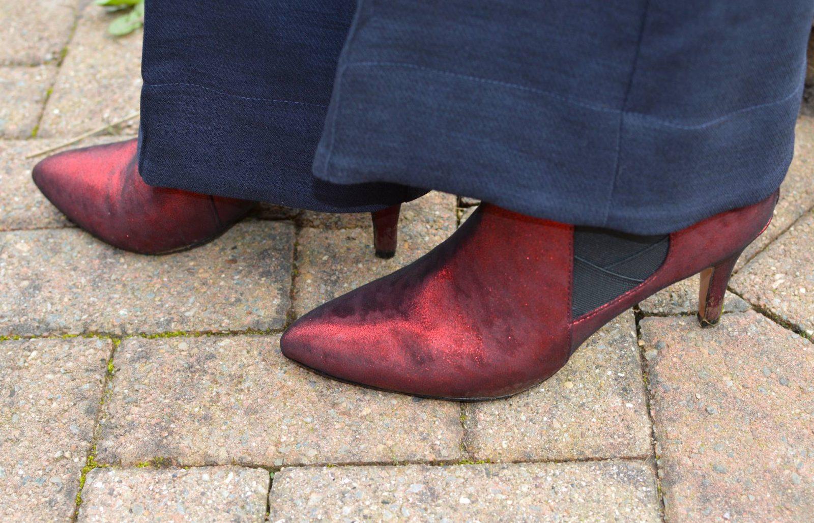 Lotus metallic red boots