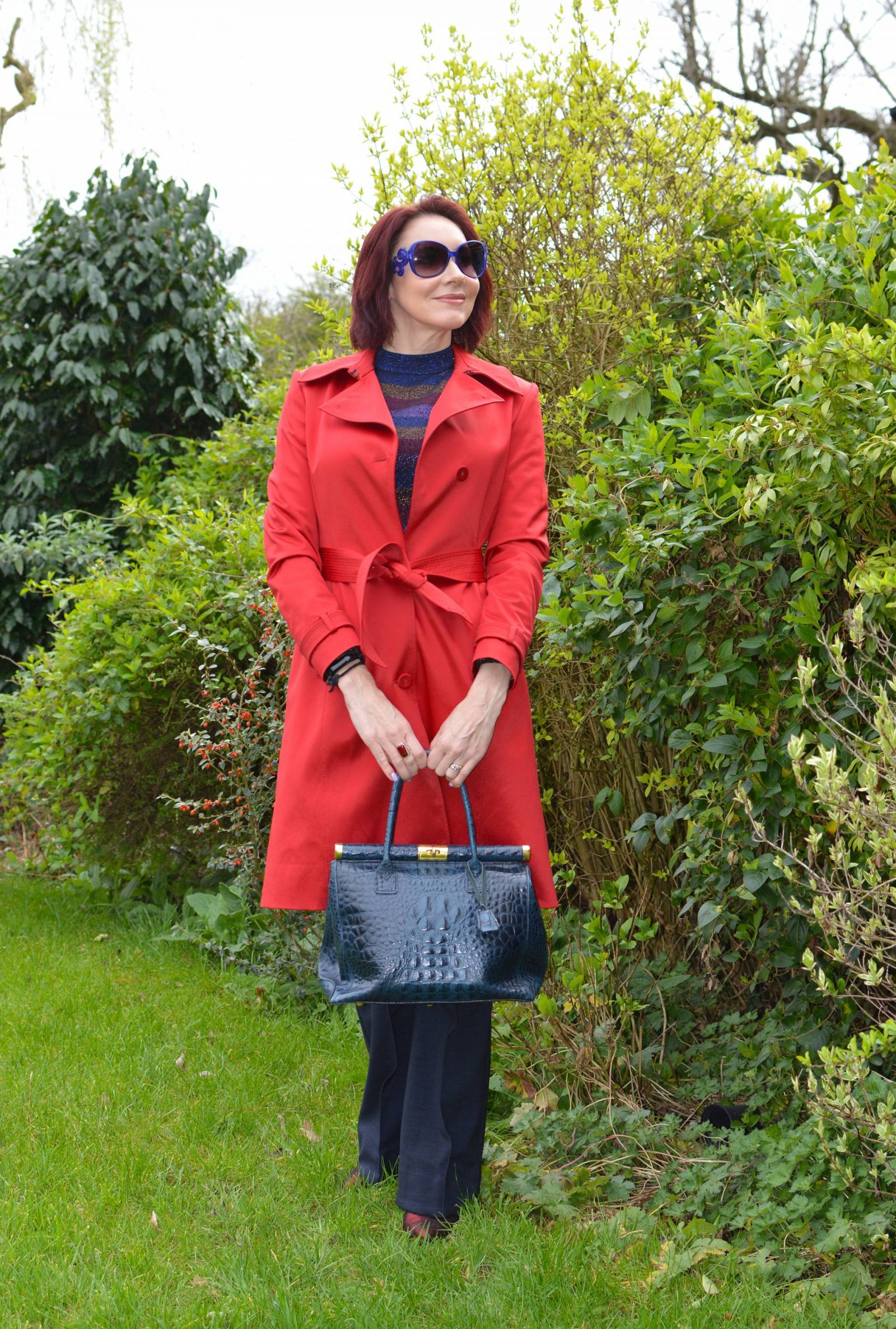 Sparkly Stripes and Bright Red Trench Coat, Oasis metallic stripe jumper, Finery Barby trousers, Biba red trench coat, Oasis metallic stripe jumper, Finery Barby trousers, Biba red trench coat