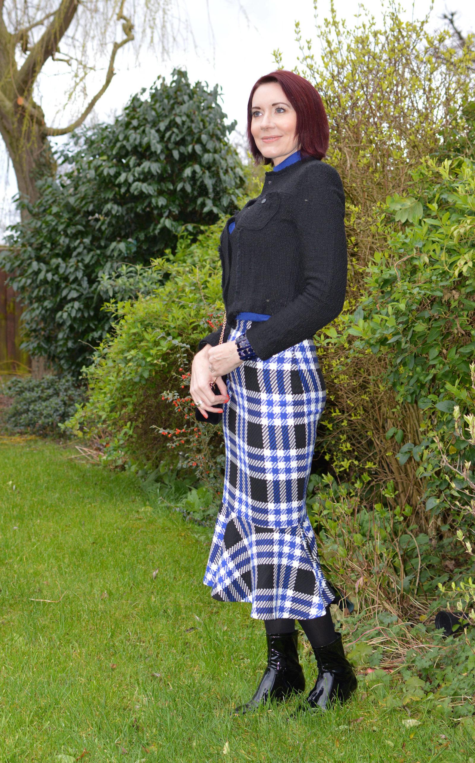Marks & Spencer check fishtail skirt and Mango tweed jacket