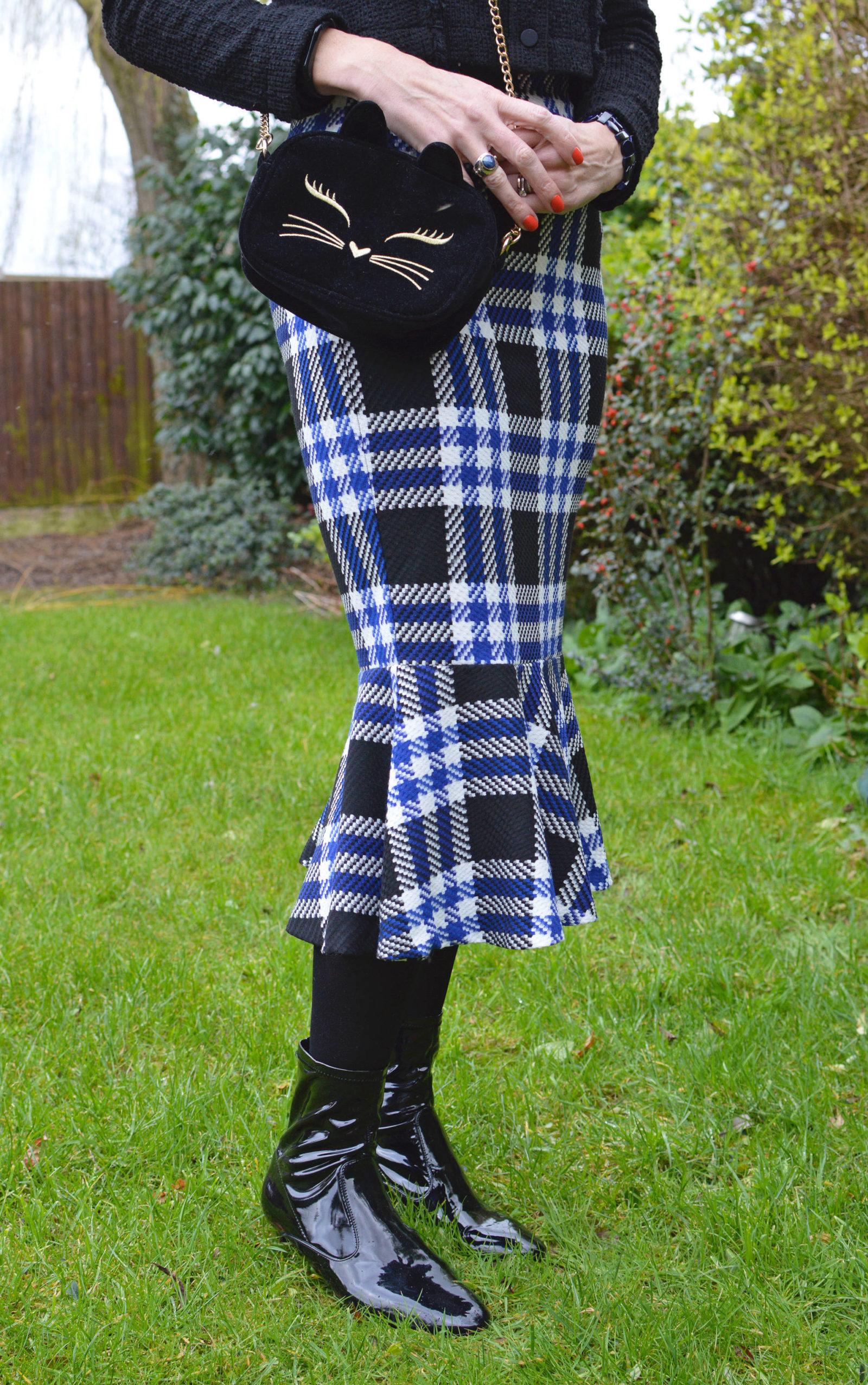 Marks & Spencer check fishtail skirt and Mango tweed jacket Asos velvet cat bag