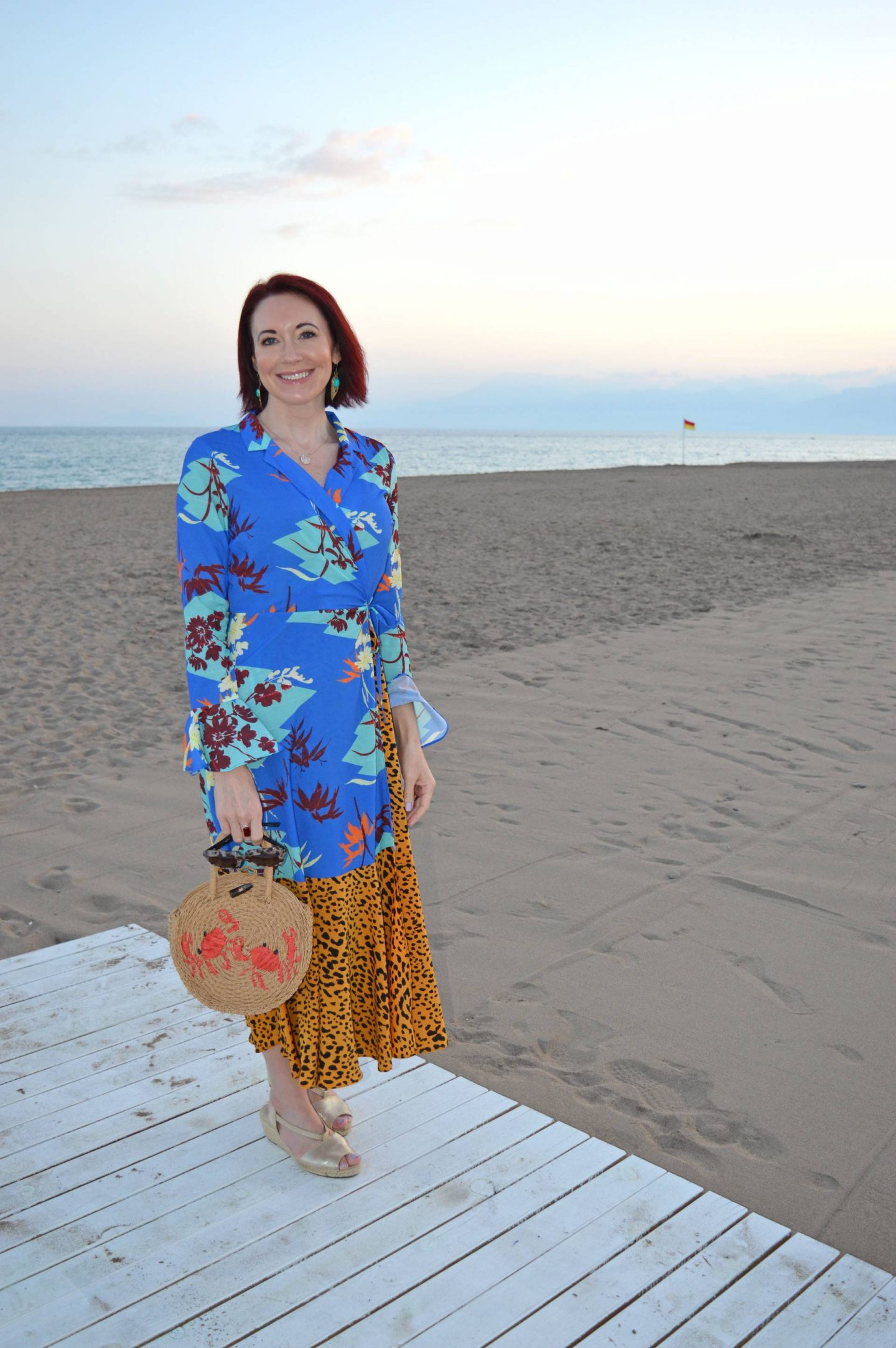 Asos Mixed Print Maxi Dress, Topshop straw crab motif bag, Lara beach Antalya