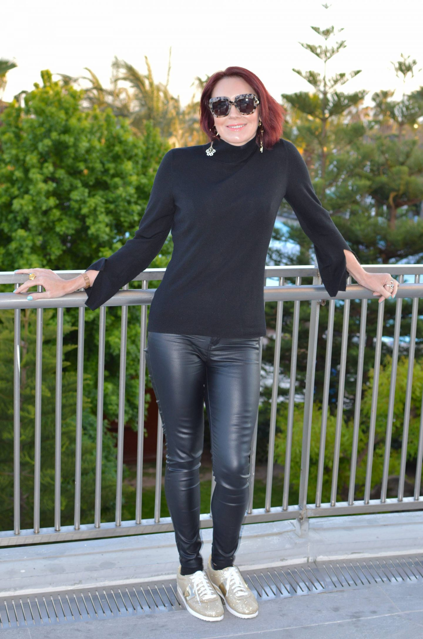 A Stylish Outfit For Travelling, Iris & Ink hign neck jumper, Frontrow coated skinny jeans, Max Mara square sunglasses