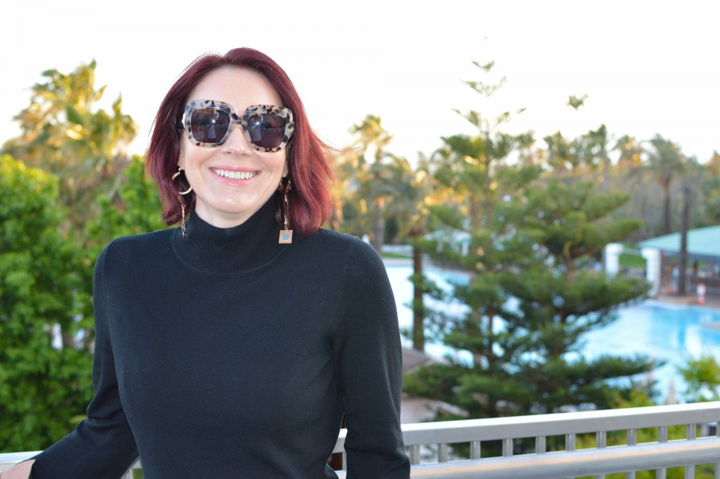 A Stylish Outfit For Travelling, Iris & Ink black high neck sweater, Finery mismatch earrings, Max Mara square sunglasses