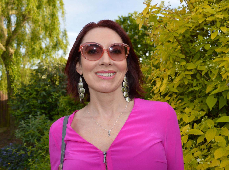 hot pink blouse, Moschino pink cat eye sunglasses