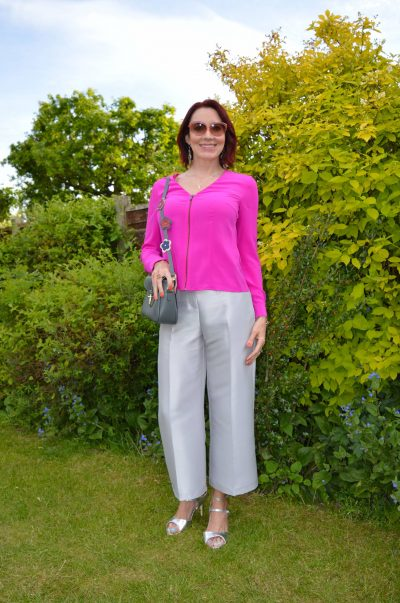 Silver cropped trousers and hot pink blouse + Style With a Smile link up