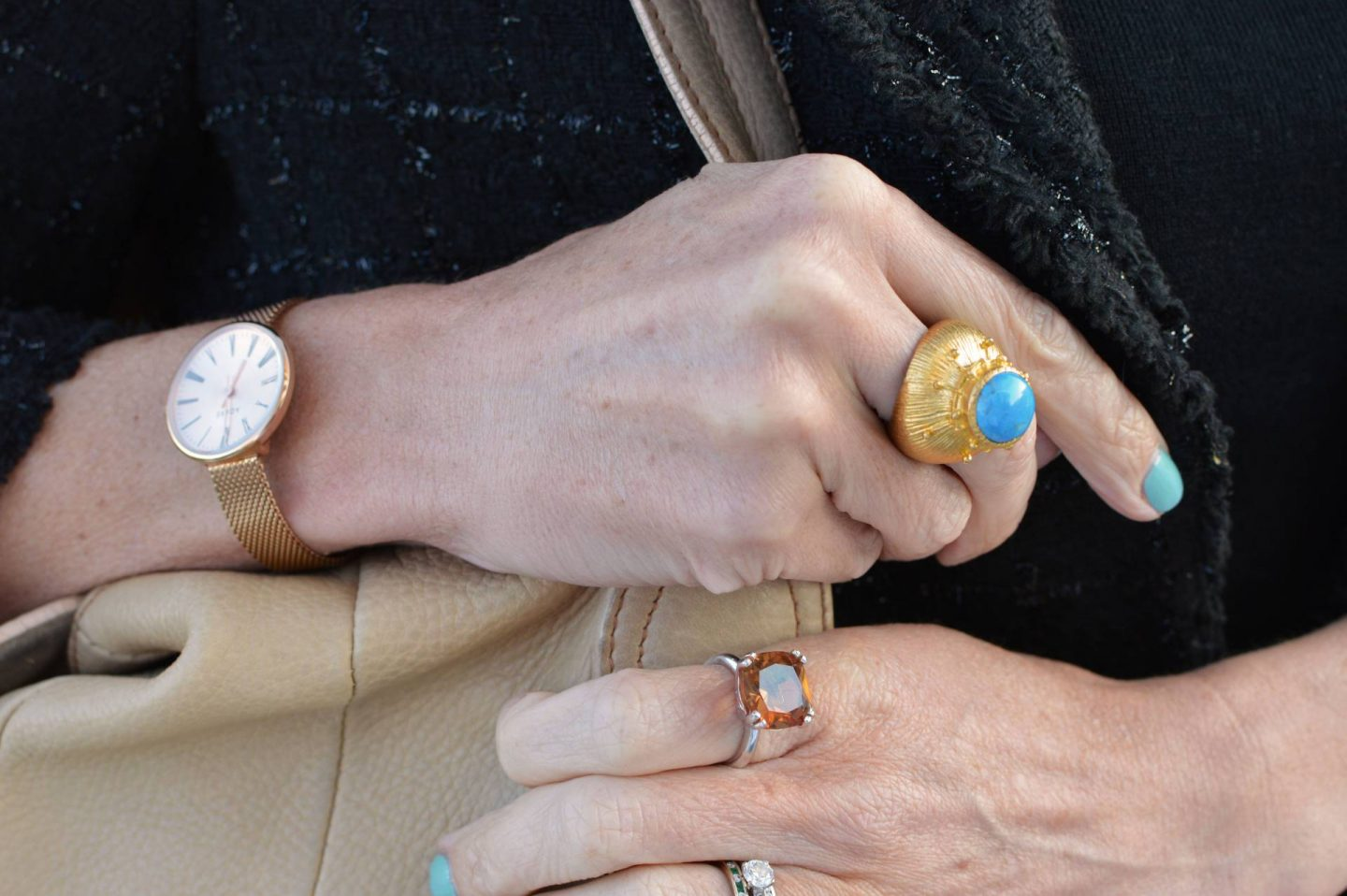 A Stylish Outfit For Travelling, Ottoman Hands gold and turquoise ring, Adexe rose gold watch