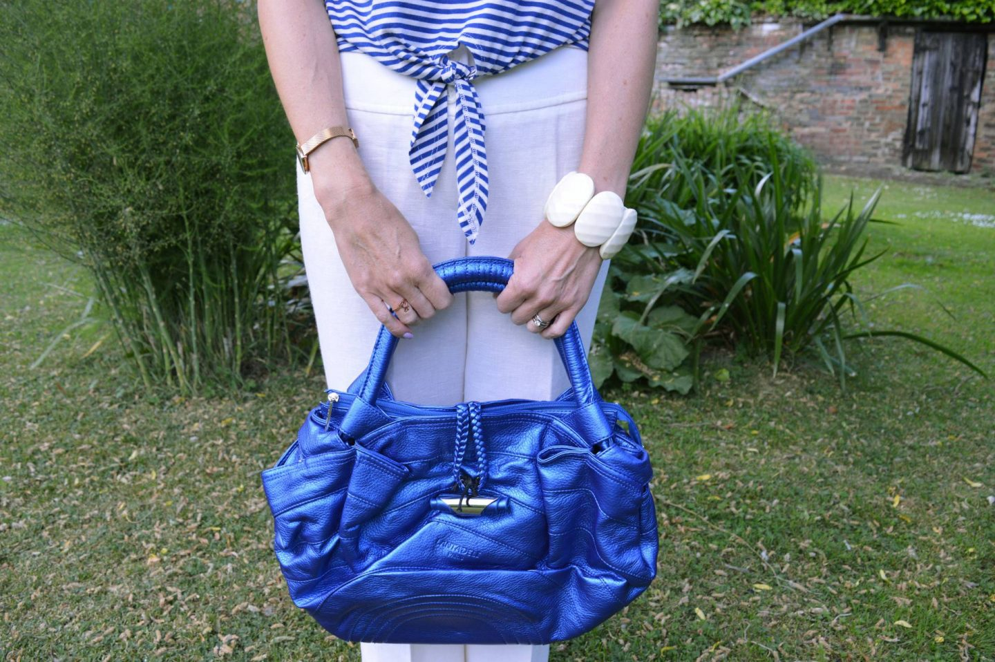 metallic blue bag