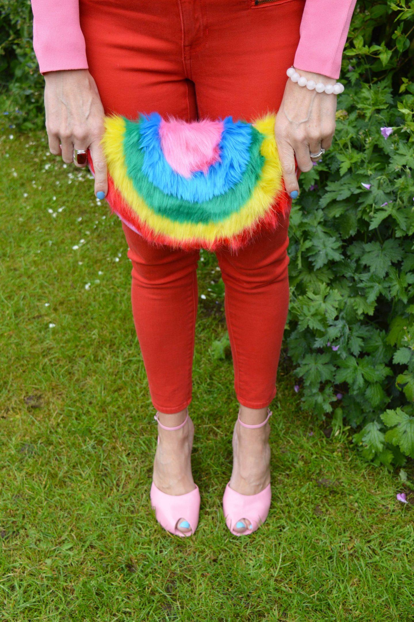 Skinny Dip rainbow clutch, Gap red skinny jeans