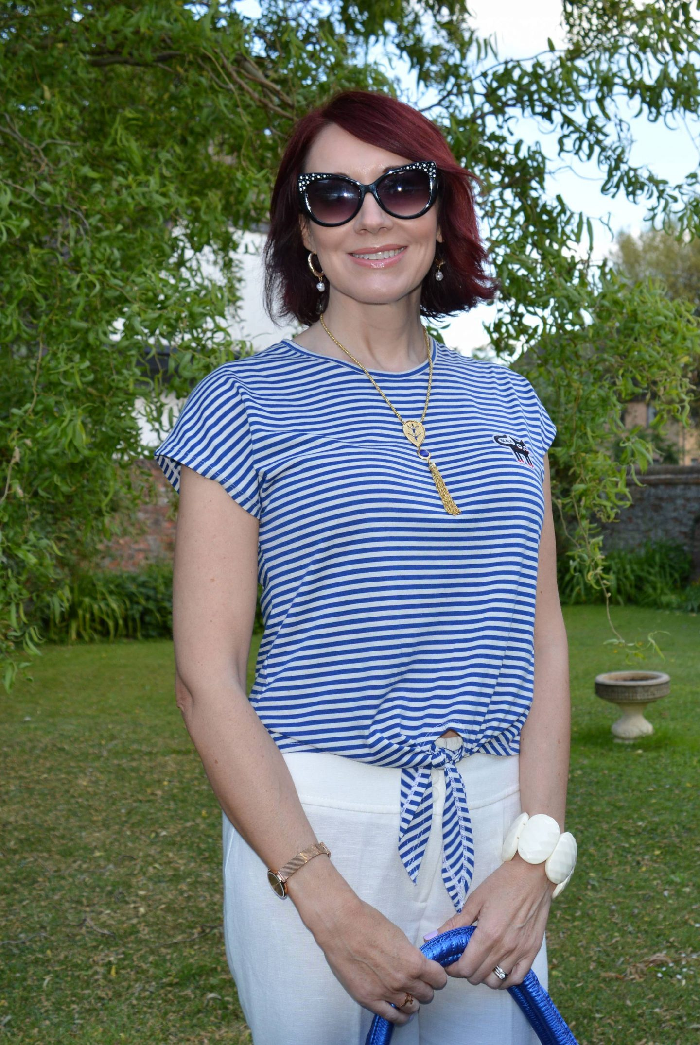 Mango striped cat T-shirt, Azuni lapis necklace