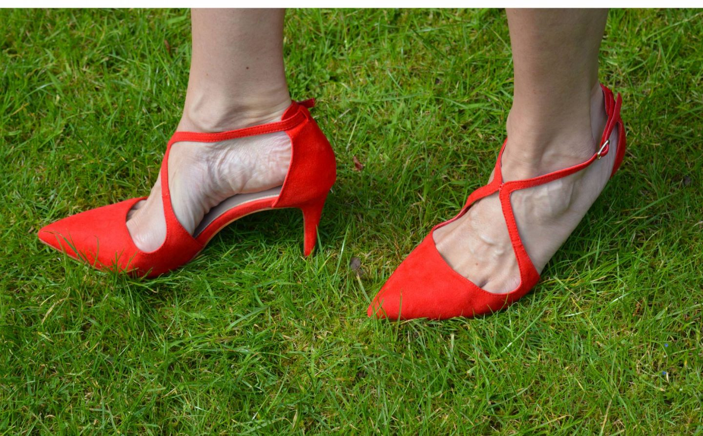 Miss KG red suedette crossover shoes
