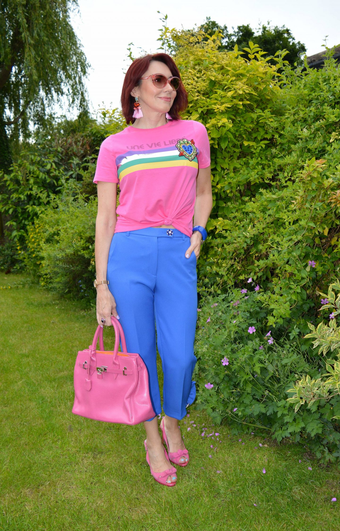 Pink graphic Tee and Blue Frill Trousers + Stylish Monday link up