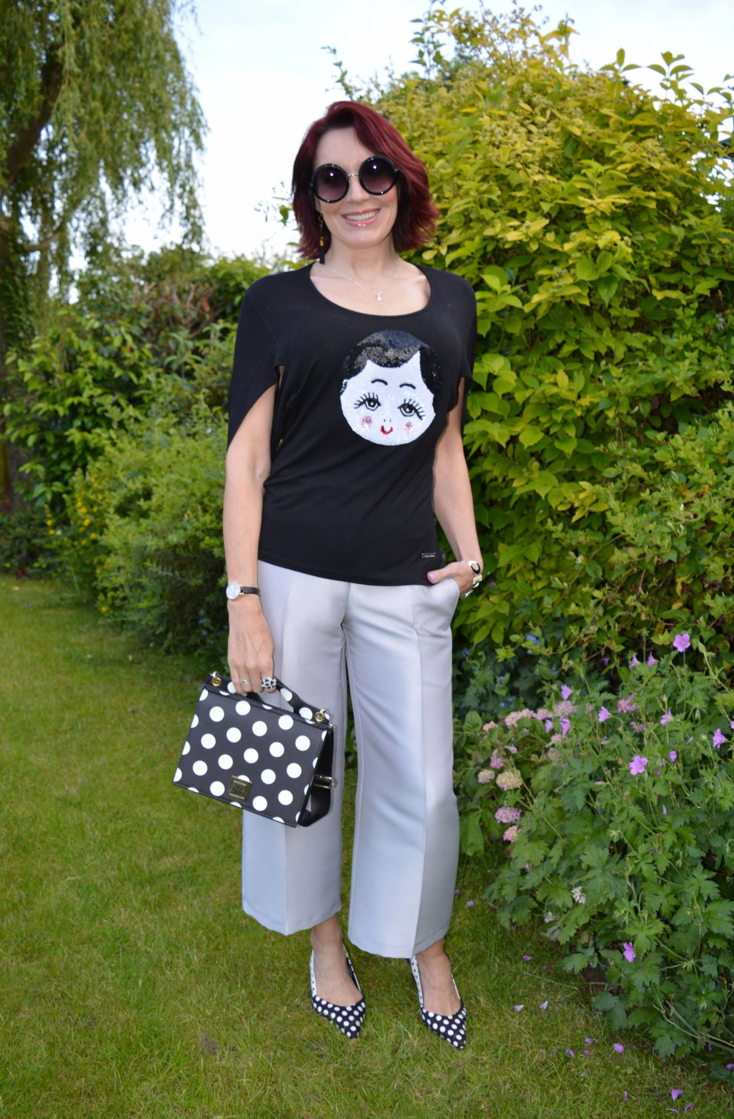 Sequin Face Top and Polka Dots