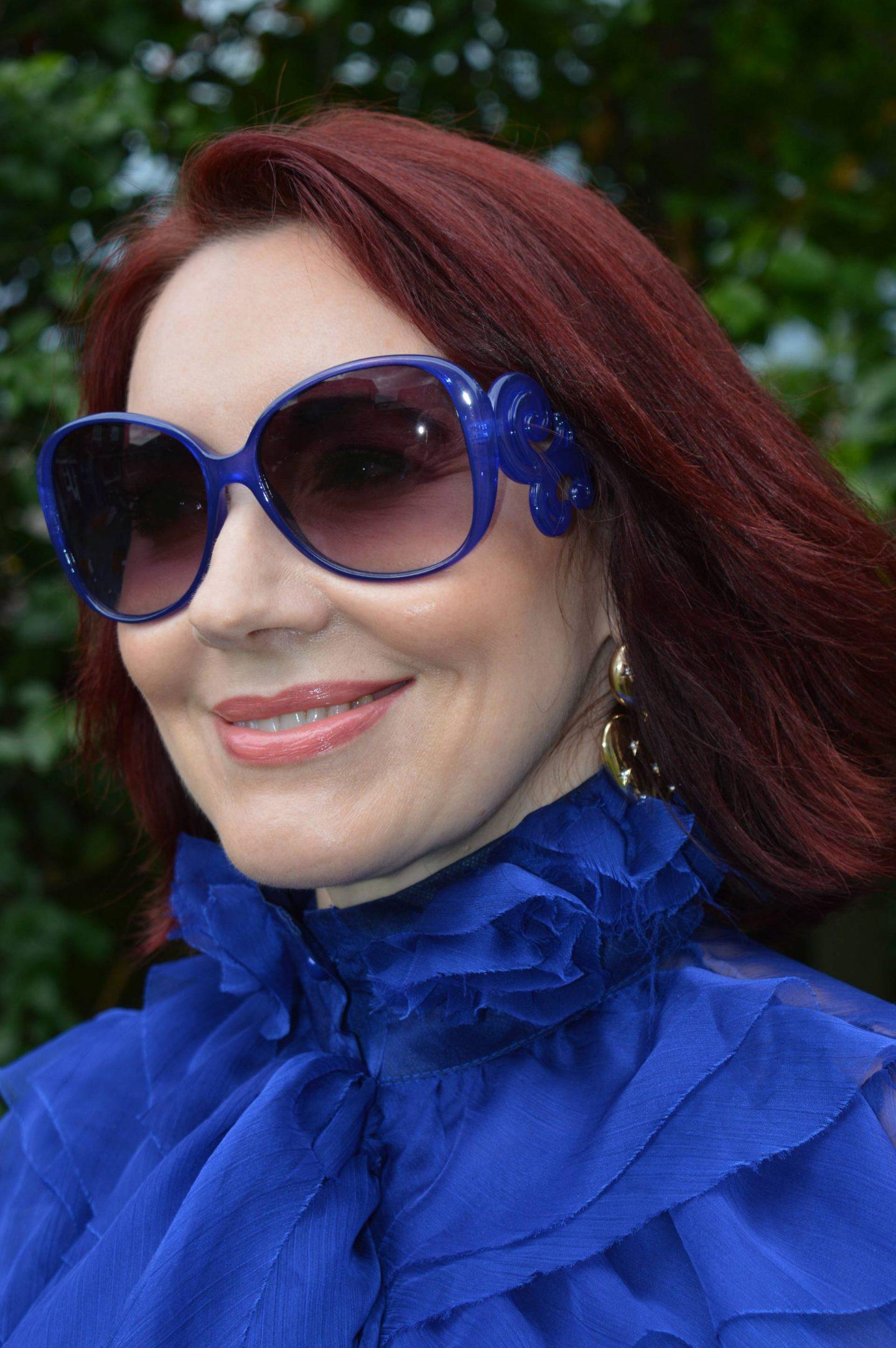 Girls on Film Lesa Blue sheer pussy bow blouse