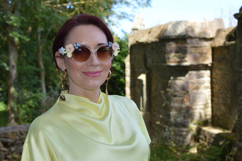 Jeepers Peepers baroque flower sunglasses, Finery mismatch earrings