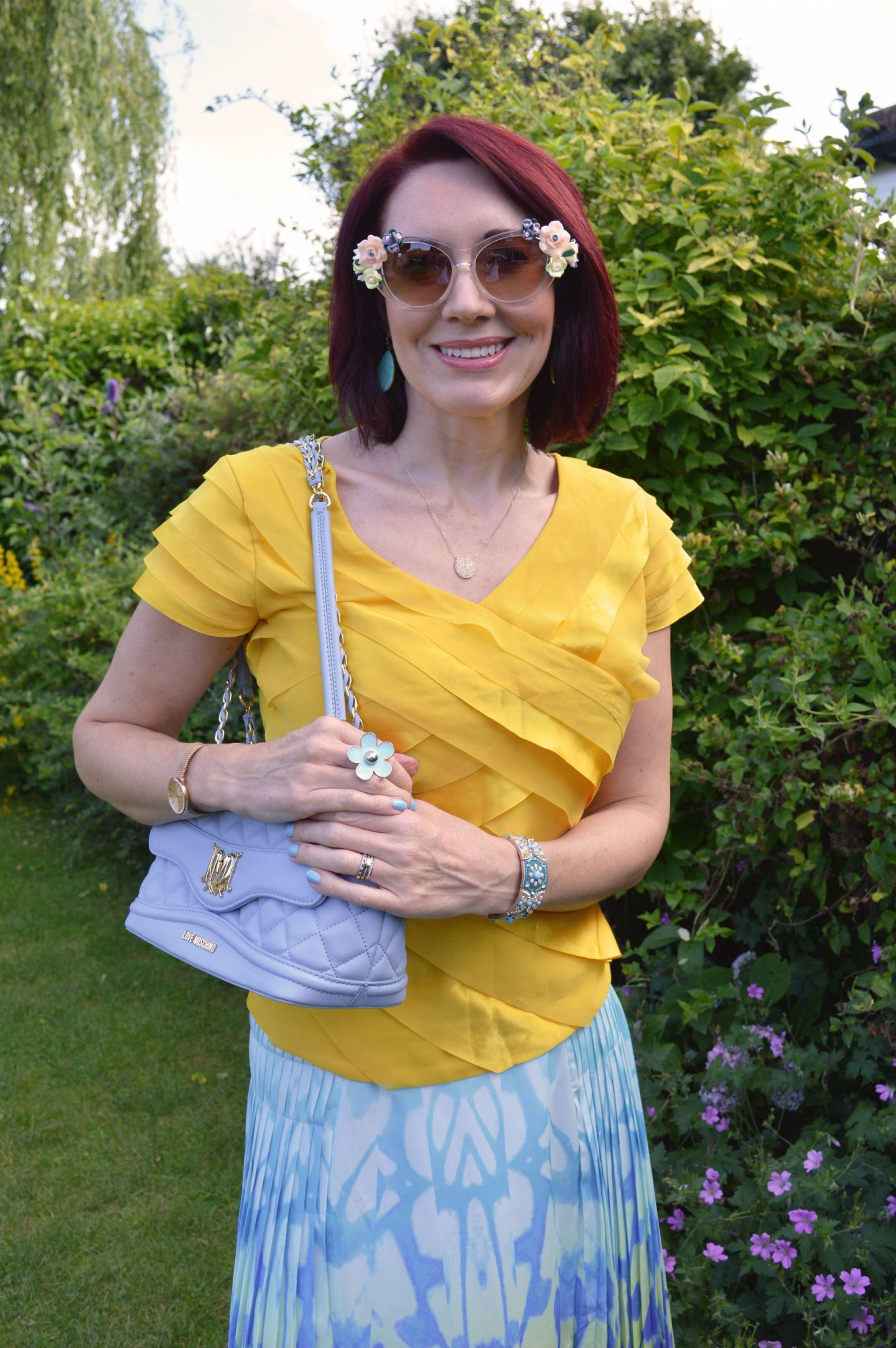 Match Made in Seven: California Dreaming, Reiss pleated skirt, Principles by Ben de Lisi yellow top, Love Moschino pale blue bag