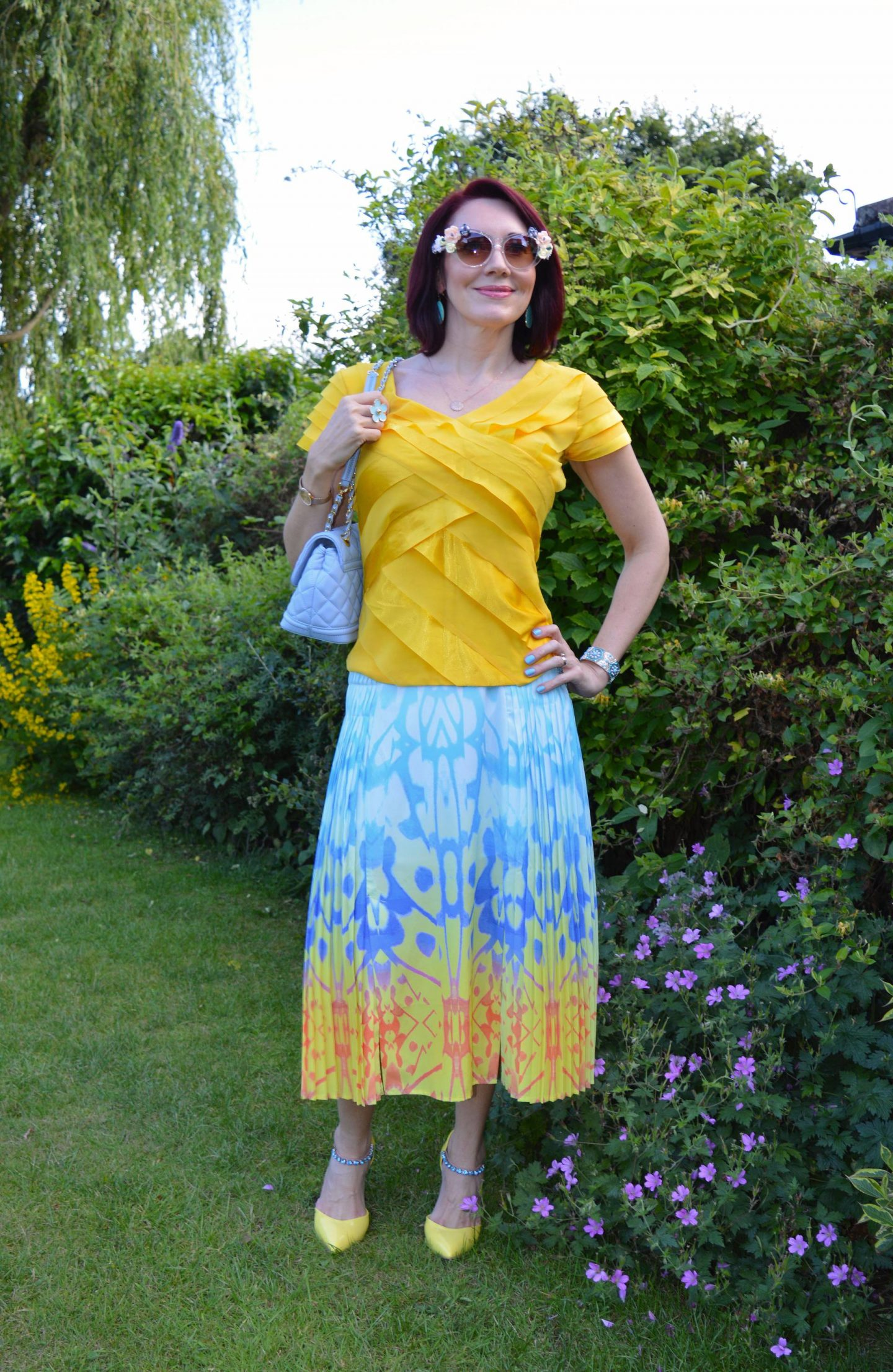 Reiss pleated skirt, Principles by Ben de Lisi yellow top, Love Moschino pale blue bag