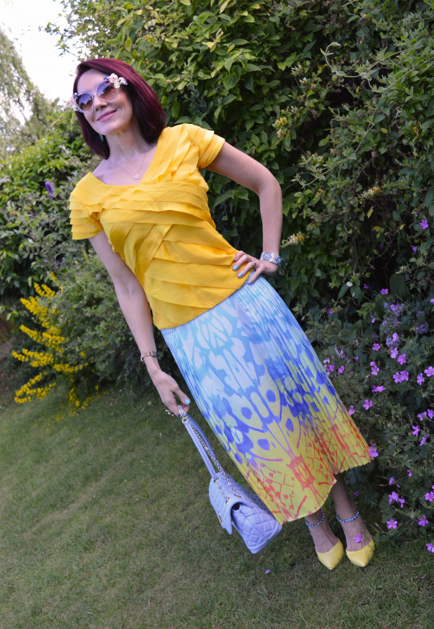 Match Made in Seven: California Dreaming, Reiss pleated skirt, Principles by Ben de Lisi yellow top