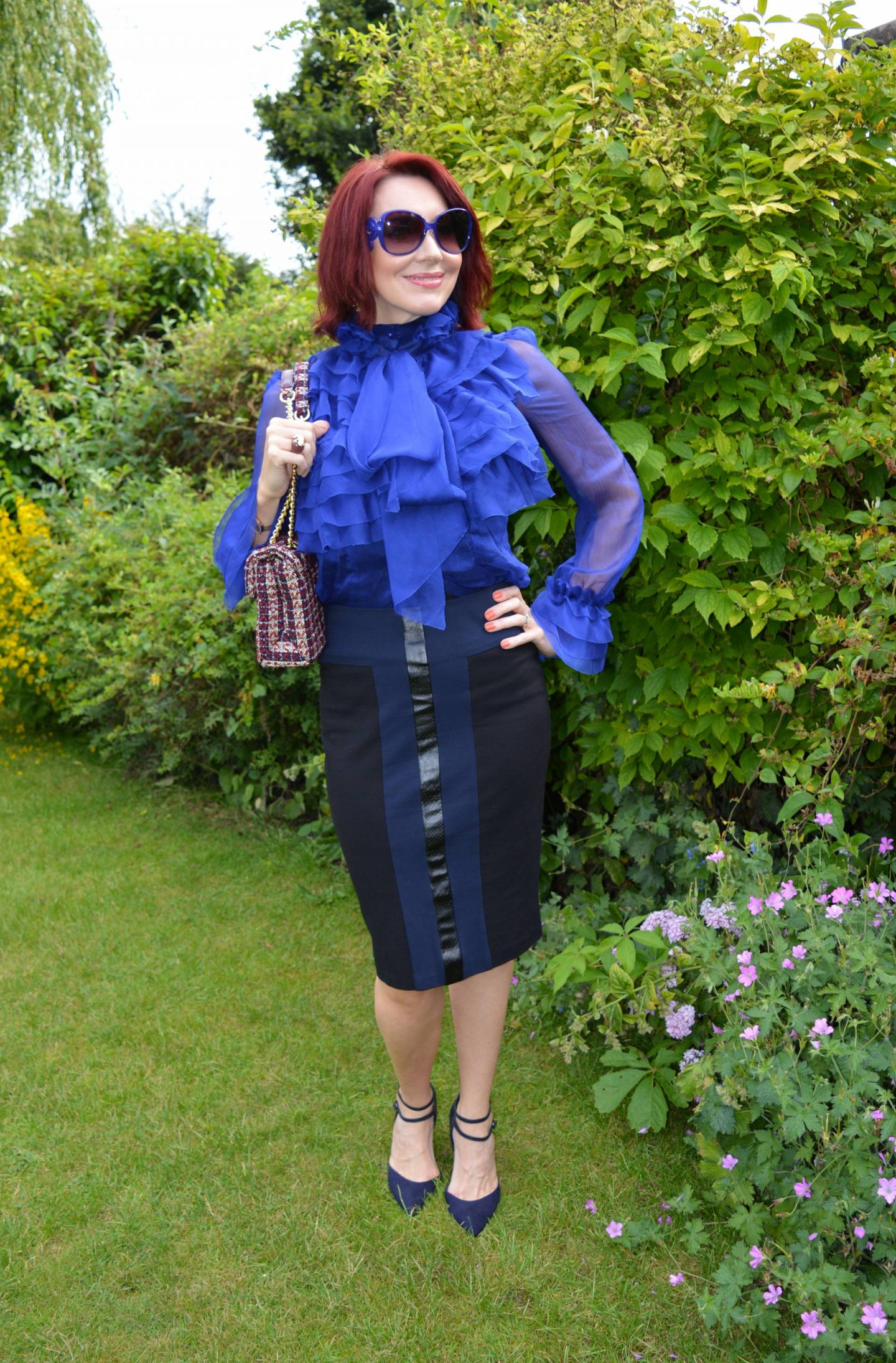 Girls on Film Lesa Blue Sheer Ruffle Blouse and Pencil Skirt