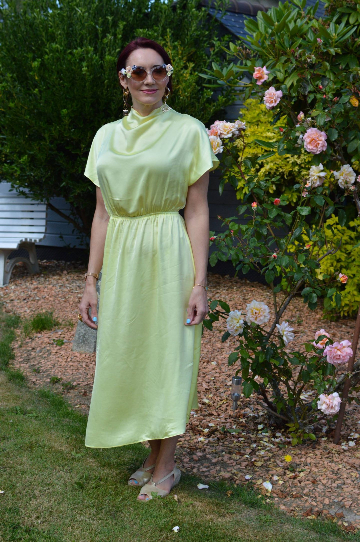 Other Stories Yellow Asymmetric Midi Dress