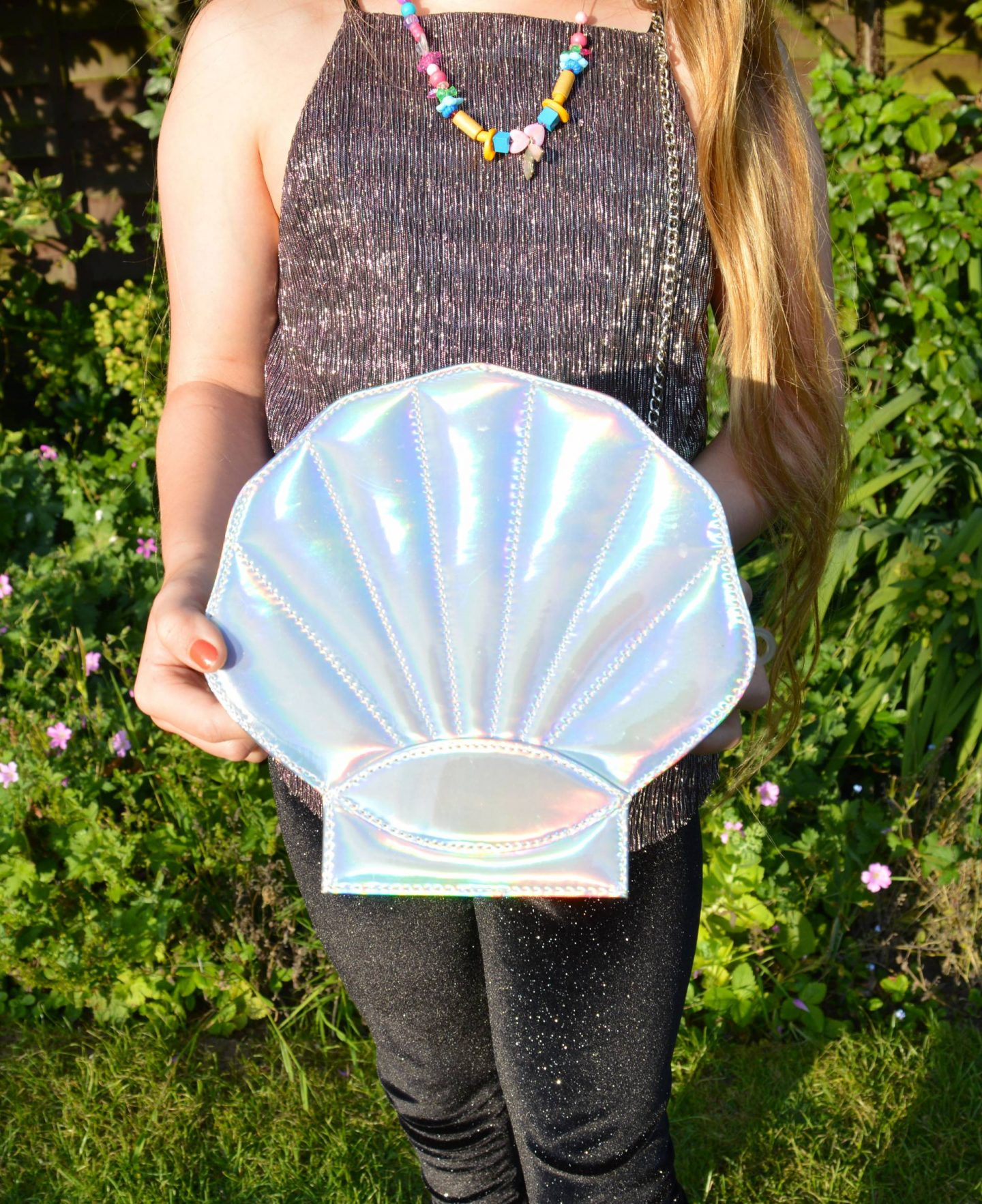silver holographic shell bag