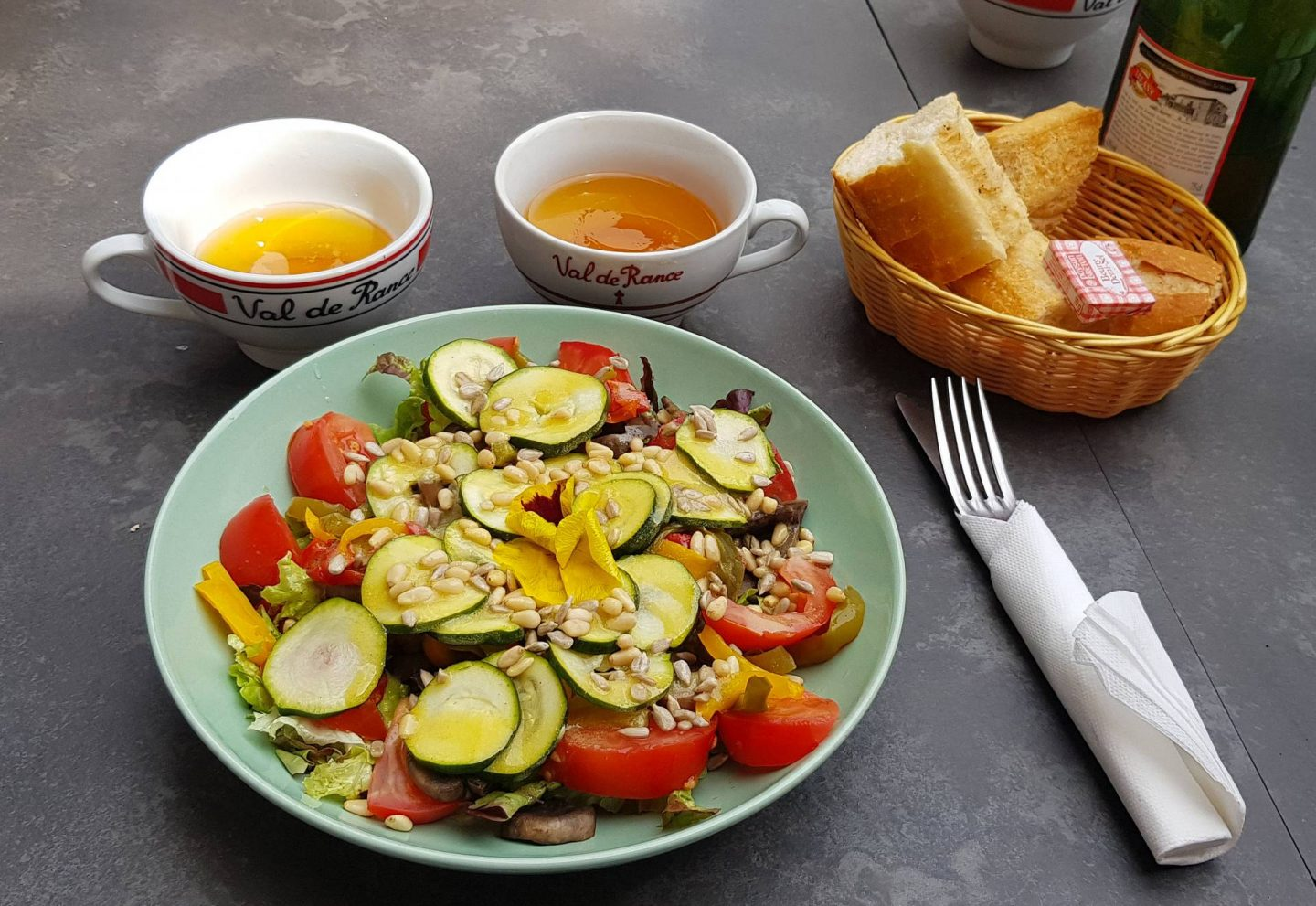 Summer Trip to Brittany, vegan salad, Breton cider in traditional cups