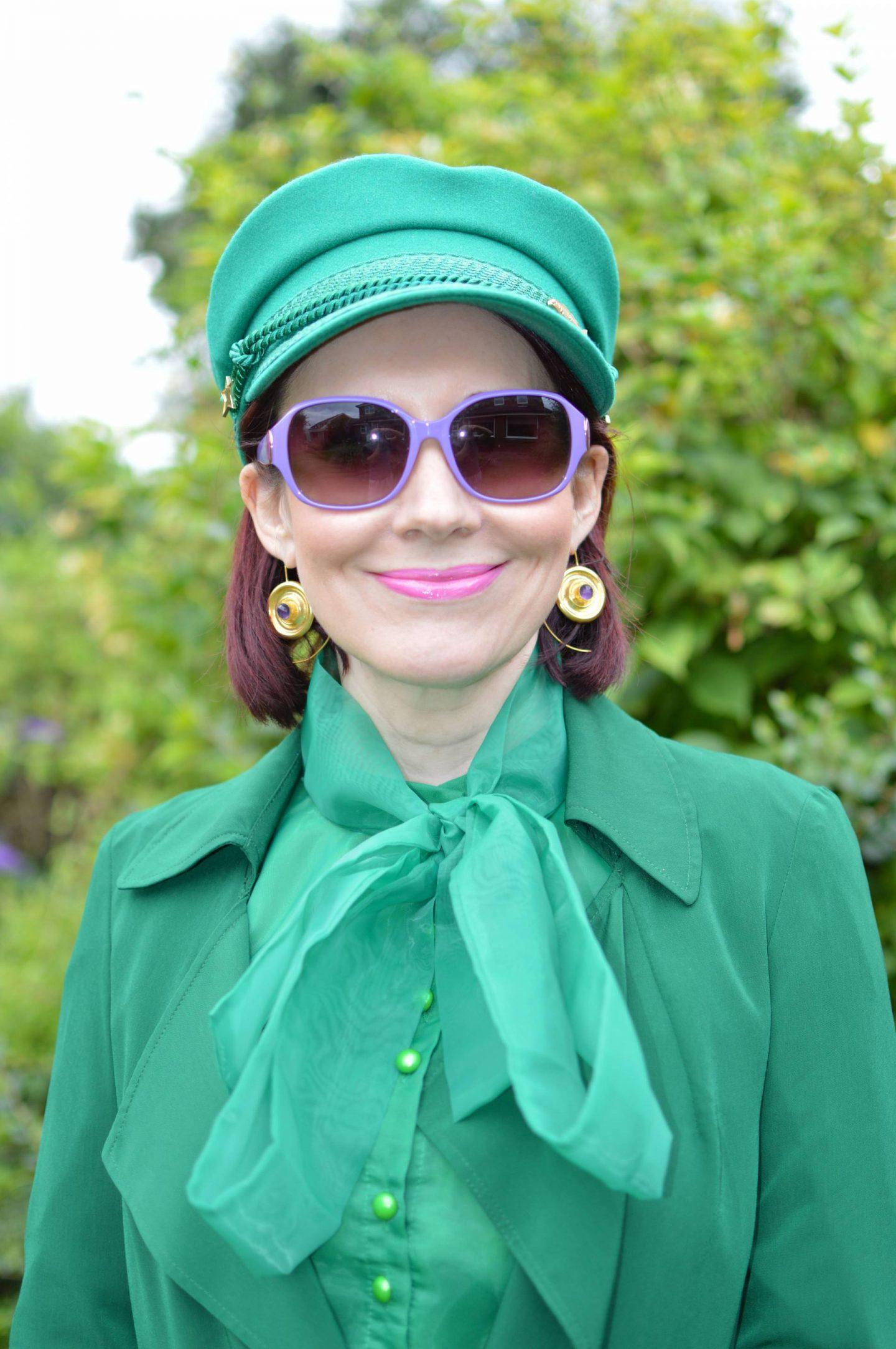Green Organza Bow Blouse, Fabienne Chapot green hat