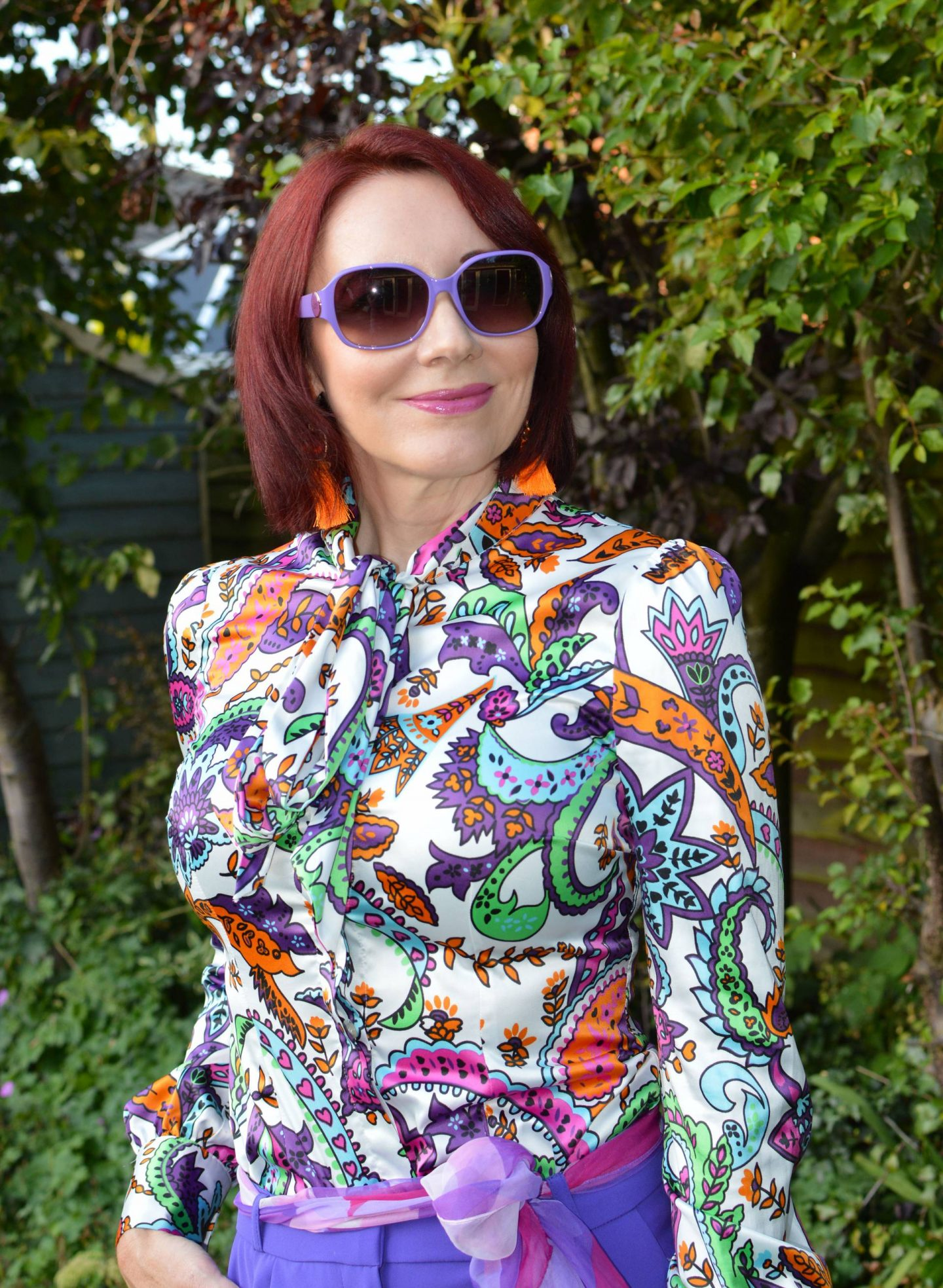 Style Not Age: Purple Reign, Hawes and Curtis blouse, Ted Baker purple sunglasses