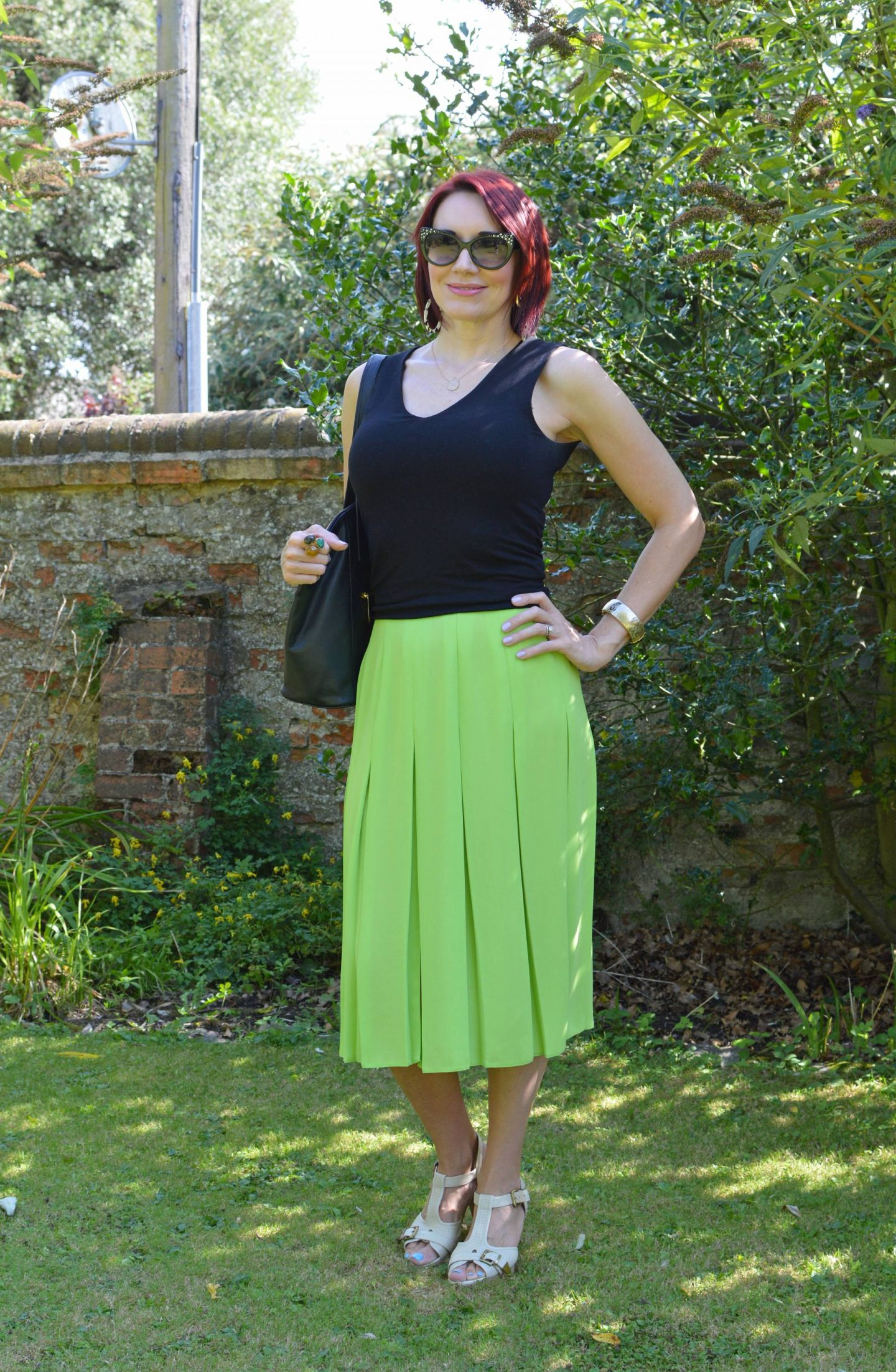 Lime Green Pleated Skirt and Black Vest