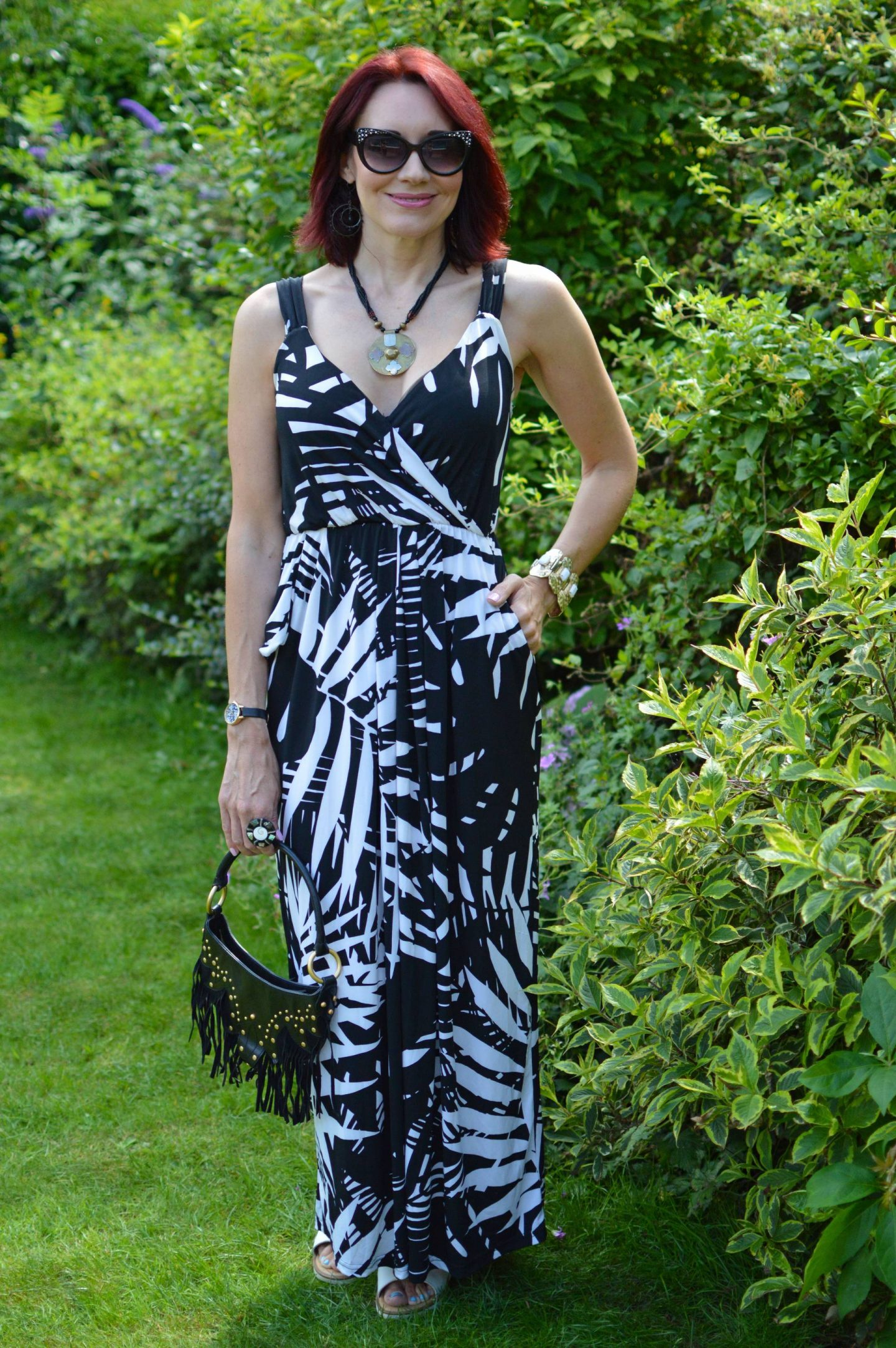 Lorraine for JD Williams black and white maxi dress