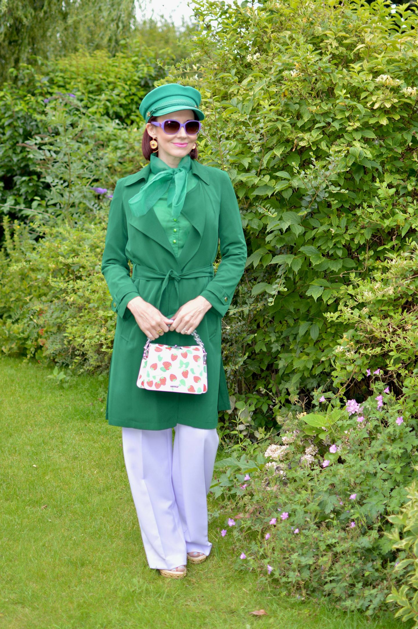 Green Organza Bow Blouse and Lilac Trousers, Fabienne Chapot green hat, green Papaya trench coat
