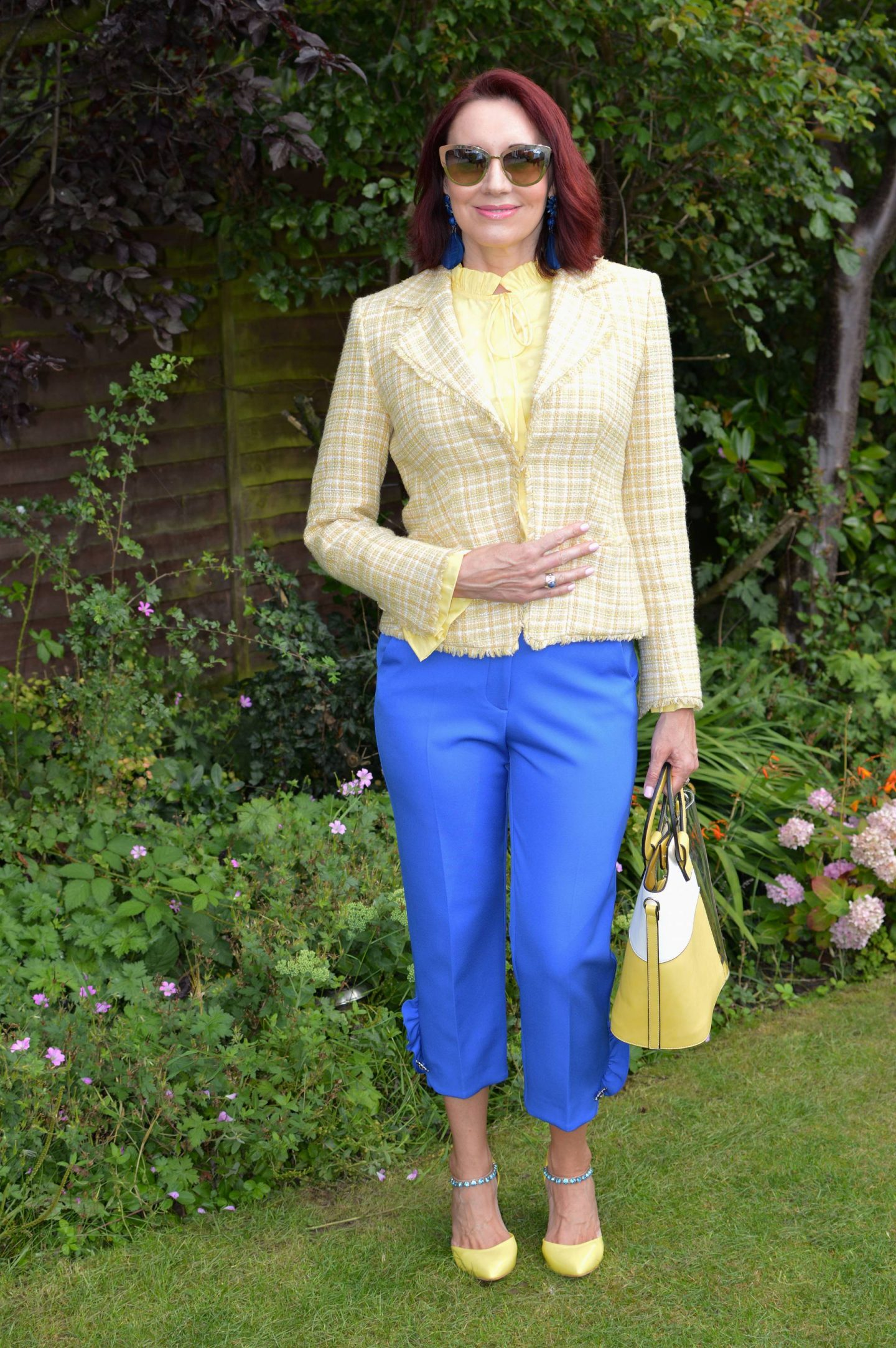 Yellow Tweed Preloved Jacket and Blue Frill Trousers