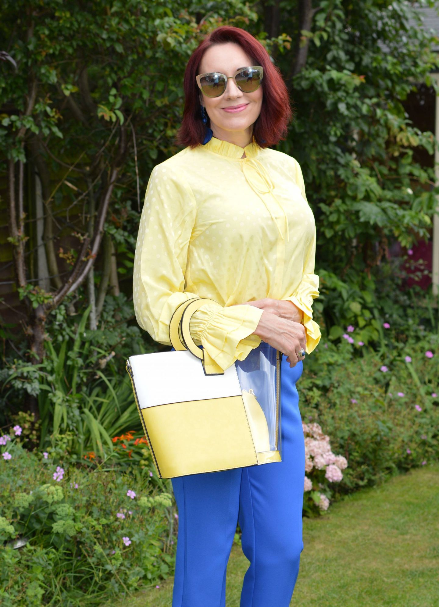 Yellow Second Femal Mardi blouse, Quay Australia mirrored sunglasses