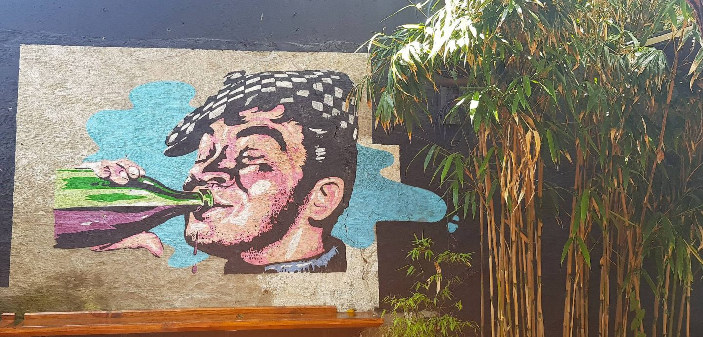 wall art at Les Cochons Flingueurs, St Quay
