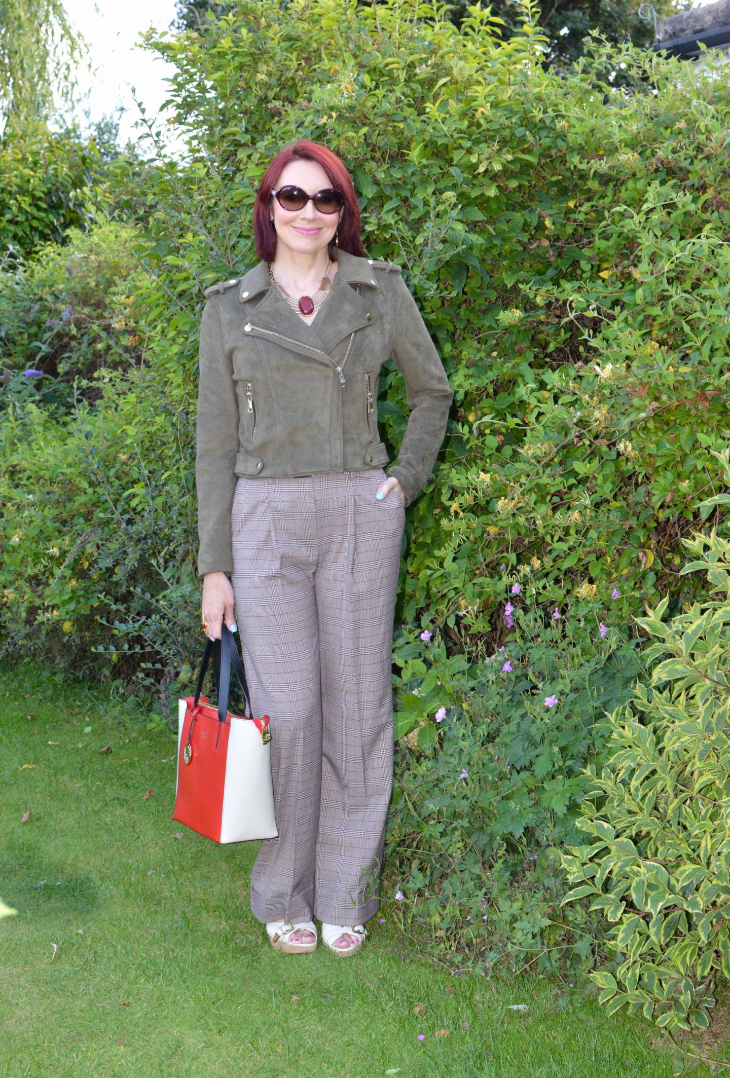 Is Olive the New Black? olive faux suede biker jacket, M&S brown check trousers