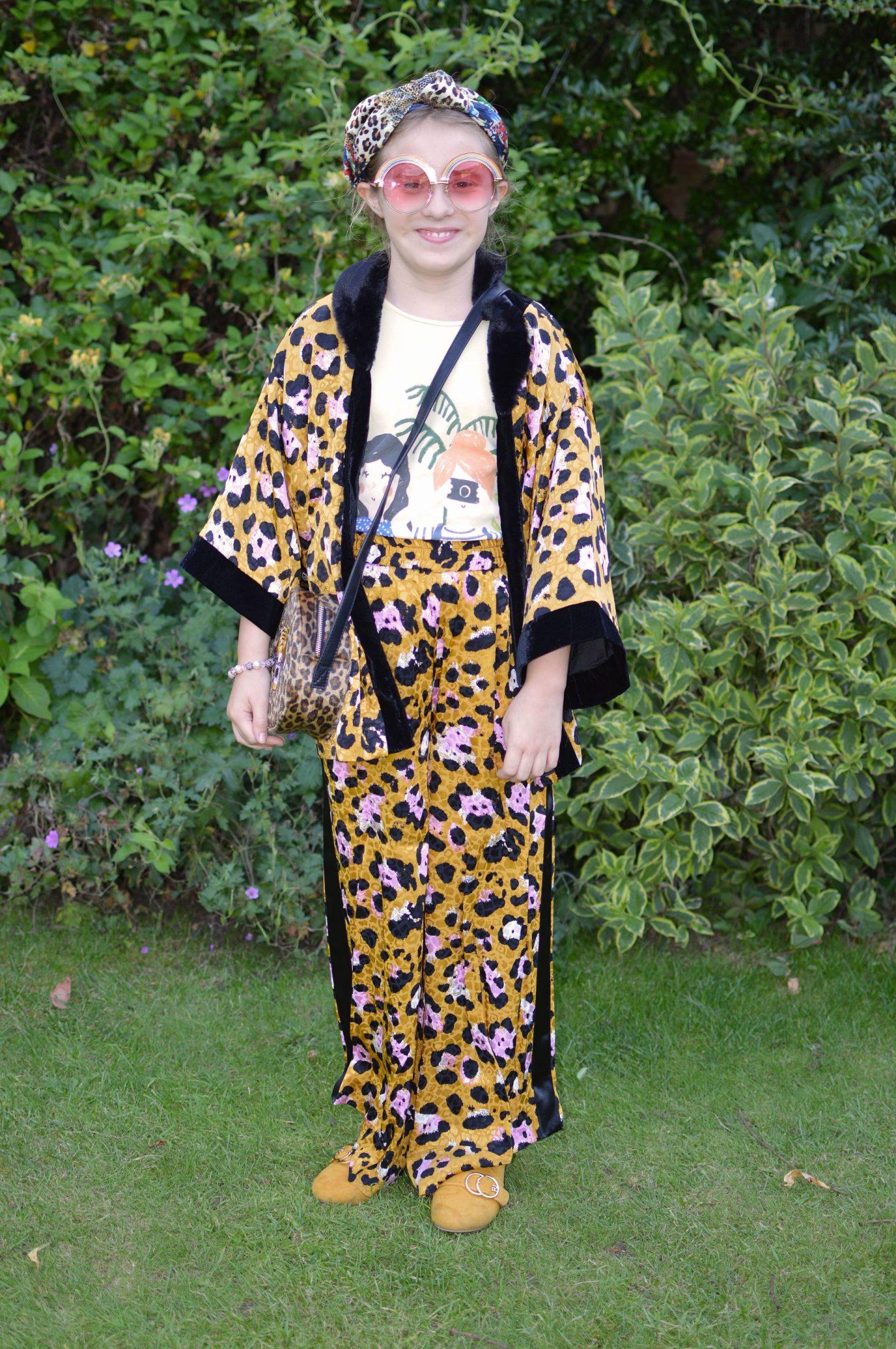 River Island girls leopard print kimono co-ord, Skinny Dip rainbow sunglasses
