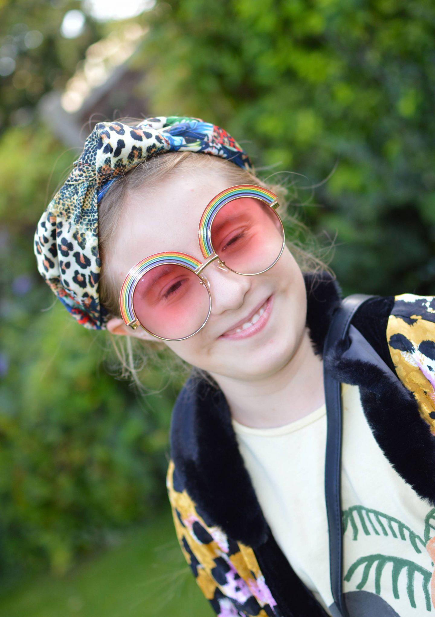 Skinny Dip rainblow sunglasses, Asos scarf headband