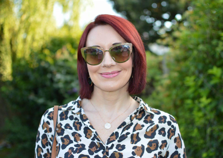Fabienne Chapot leopard print blouse, Quay gold sunglasses