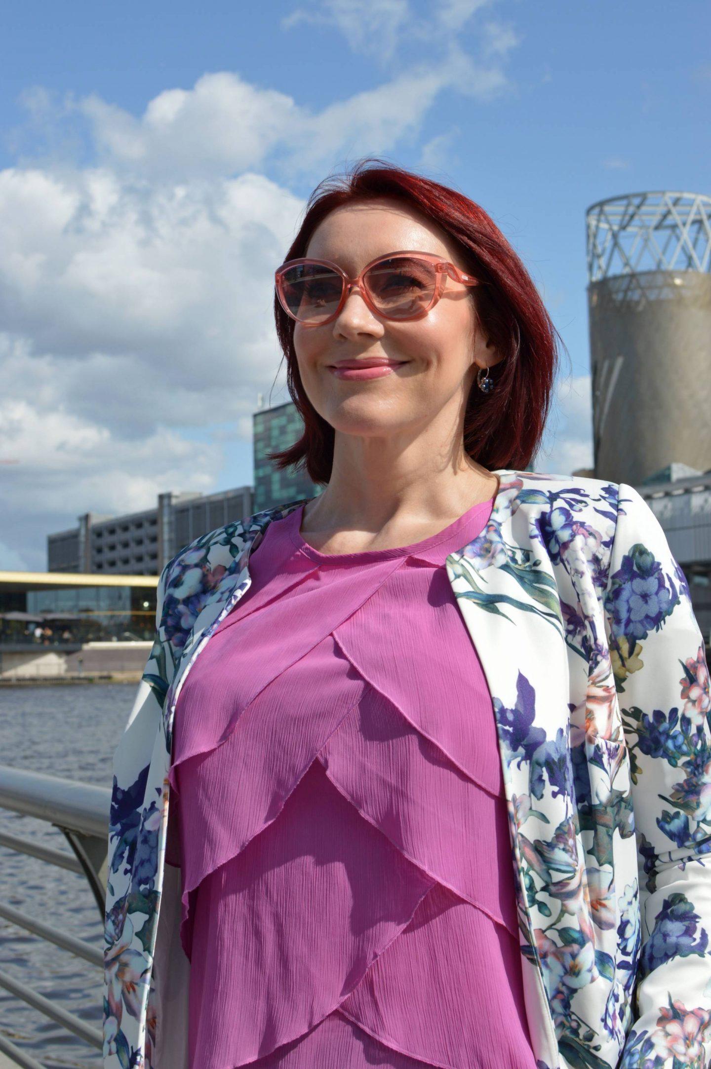 JD Williams Floral Print Longline Jacket and pink chiffon Per Una top