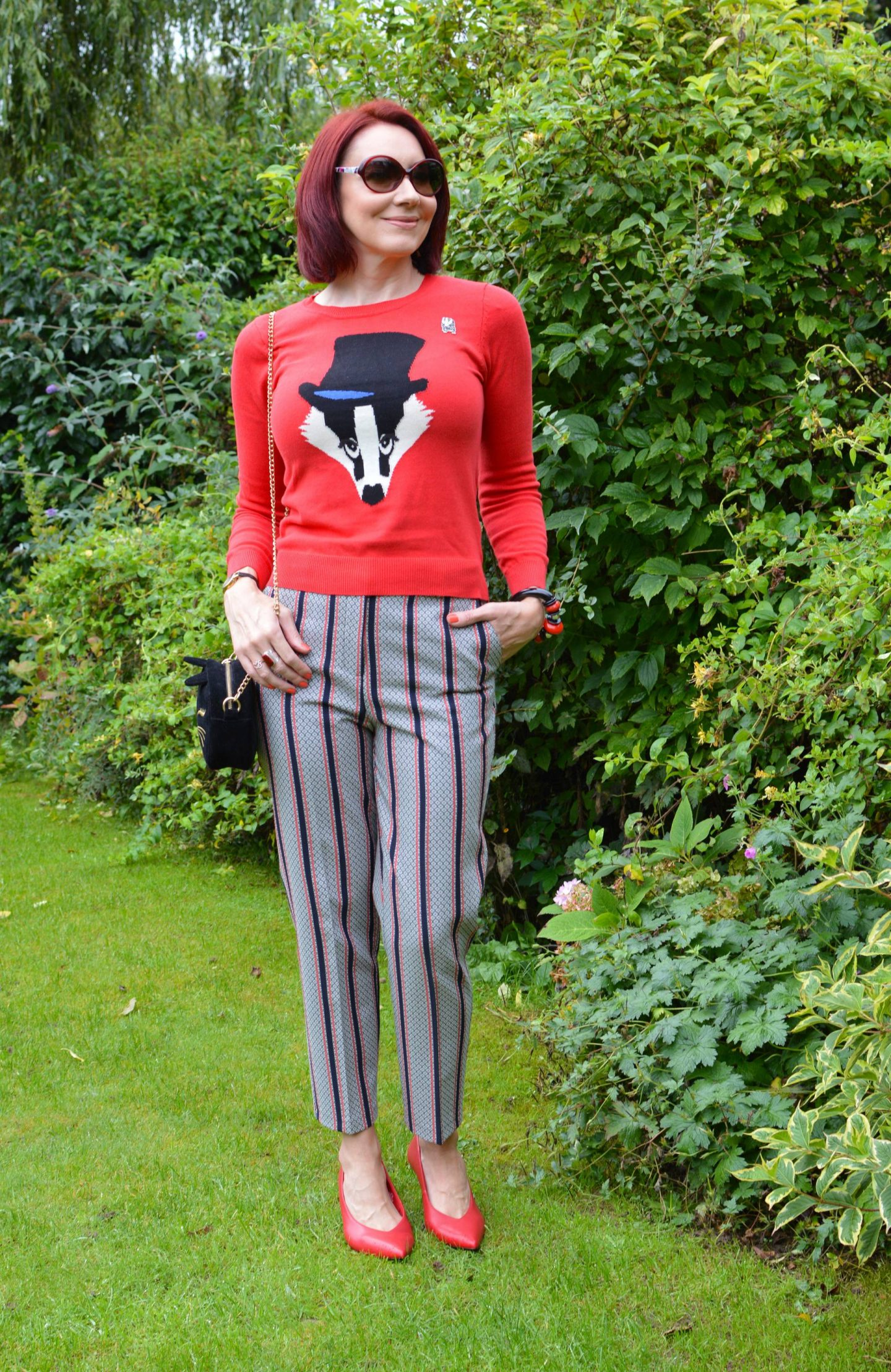 Match Made in Seven: How We Wear Animal Motifs, Louche badger jumper, River Island striped trousers